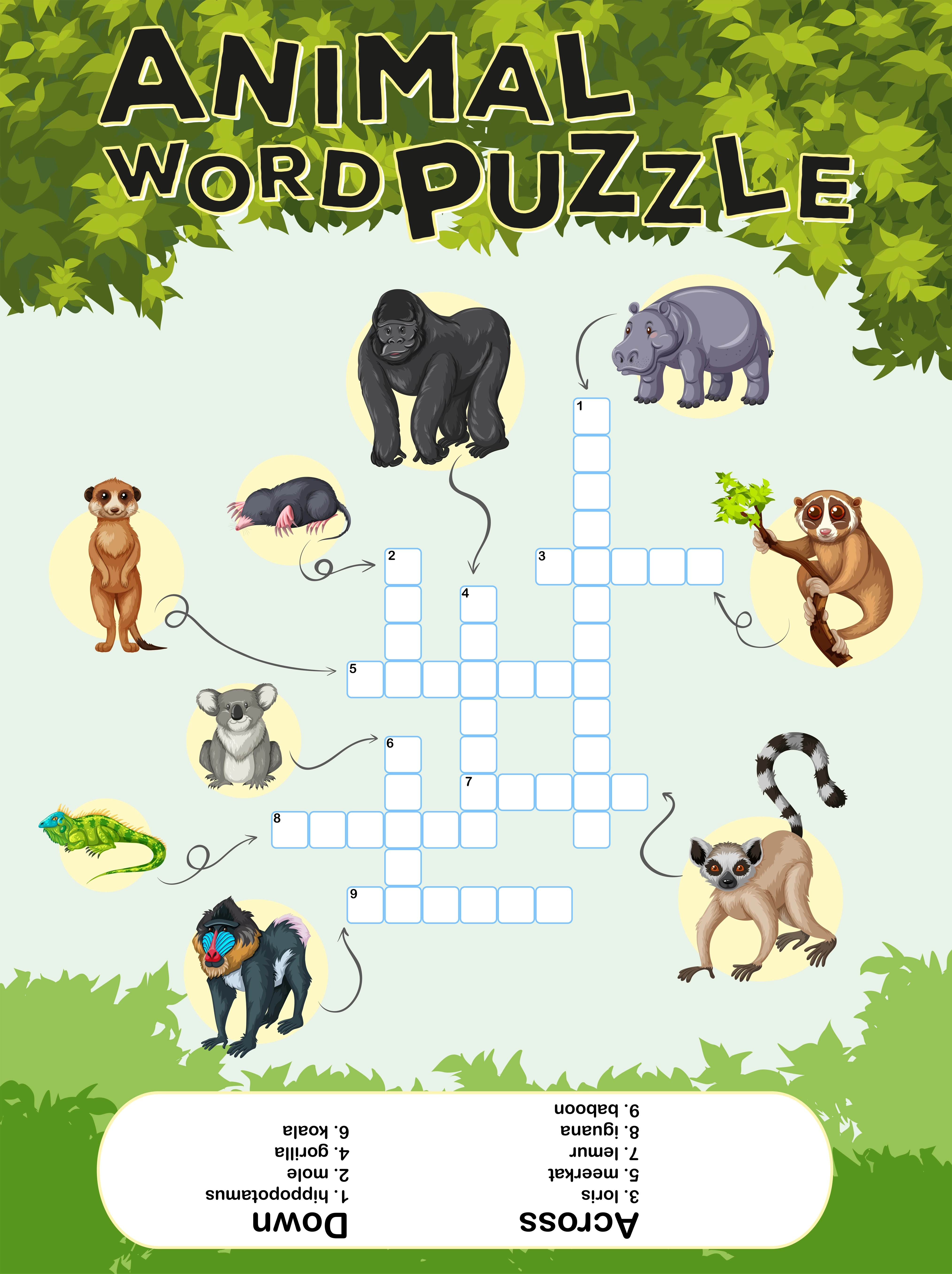 Game Design For Animal Word Puzzle Vector