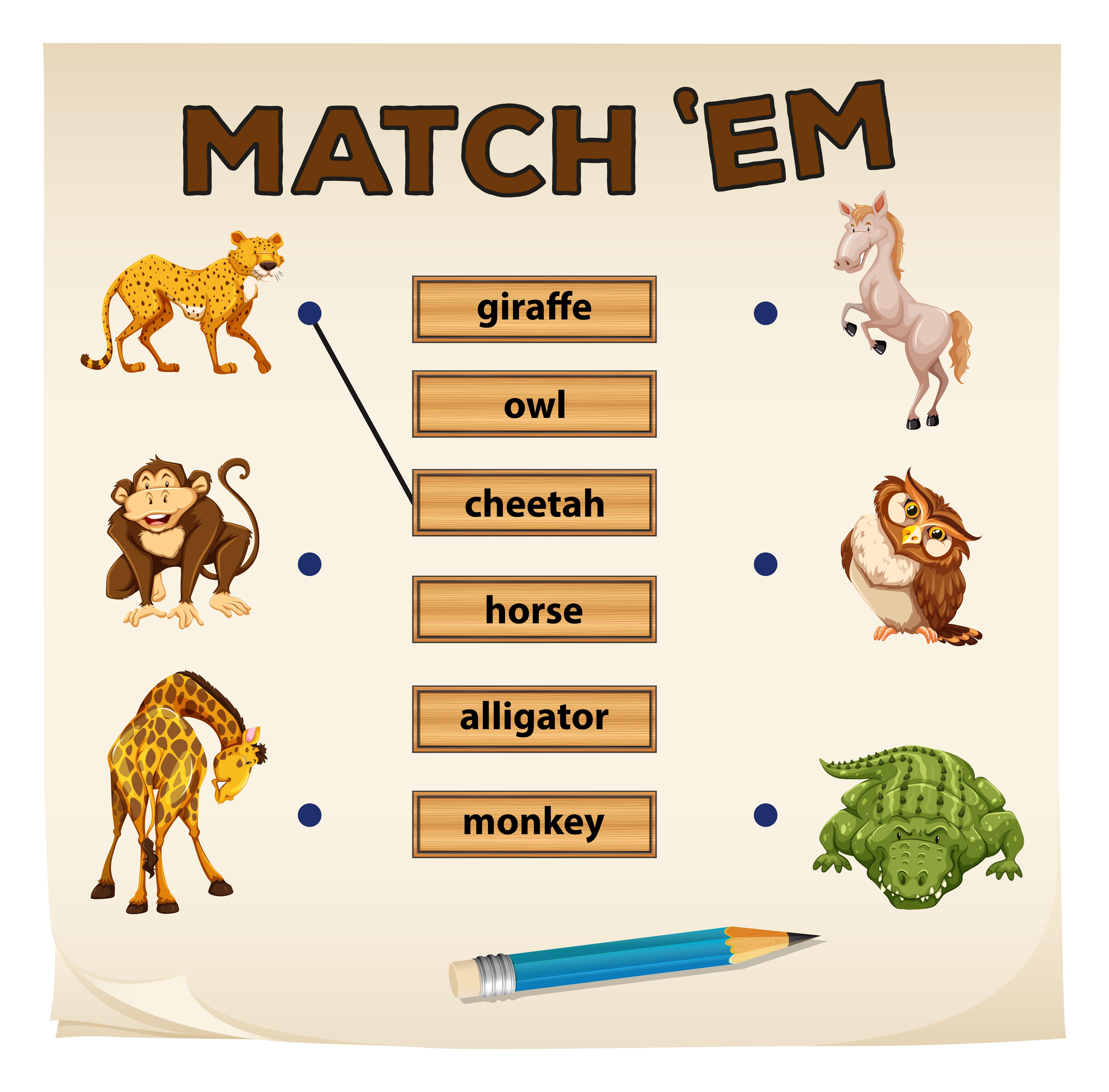 African Animal Worksheet Matching