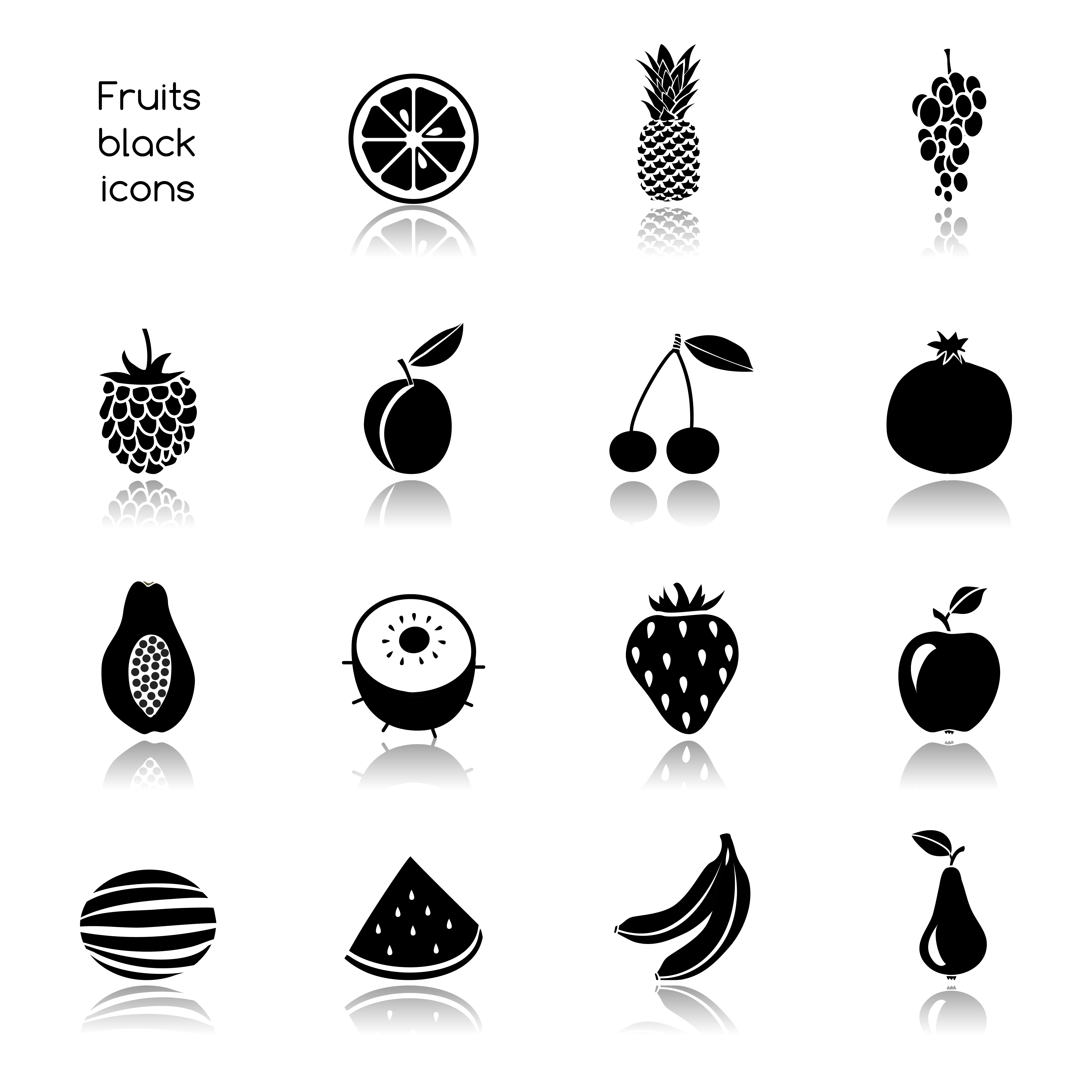 Fruits Icons Black