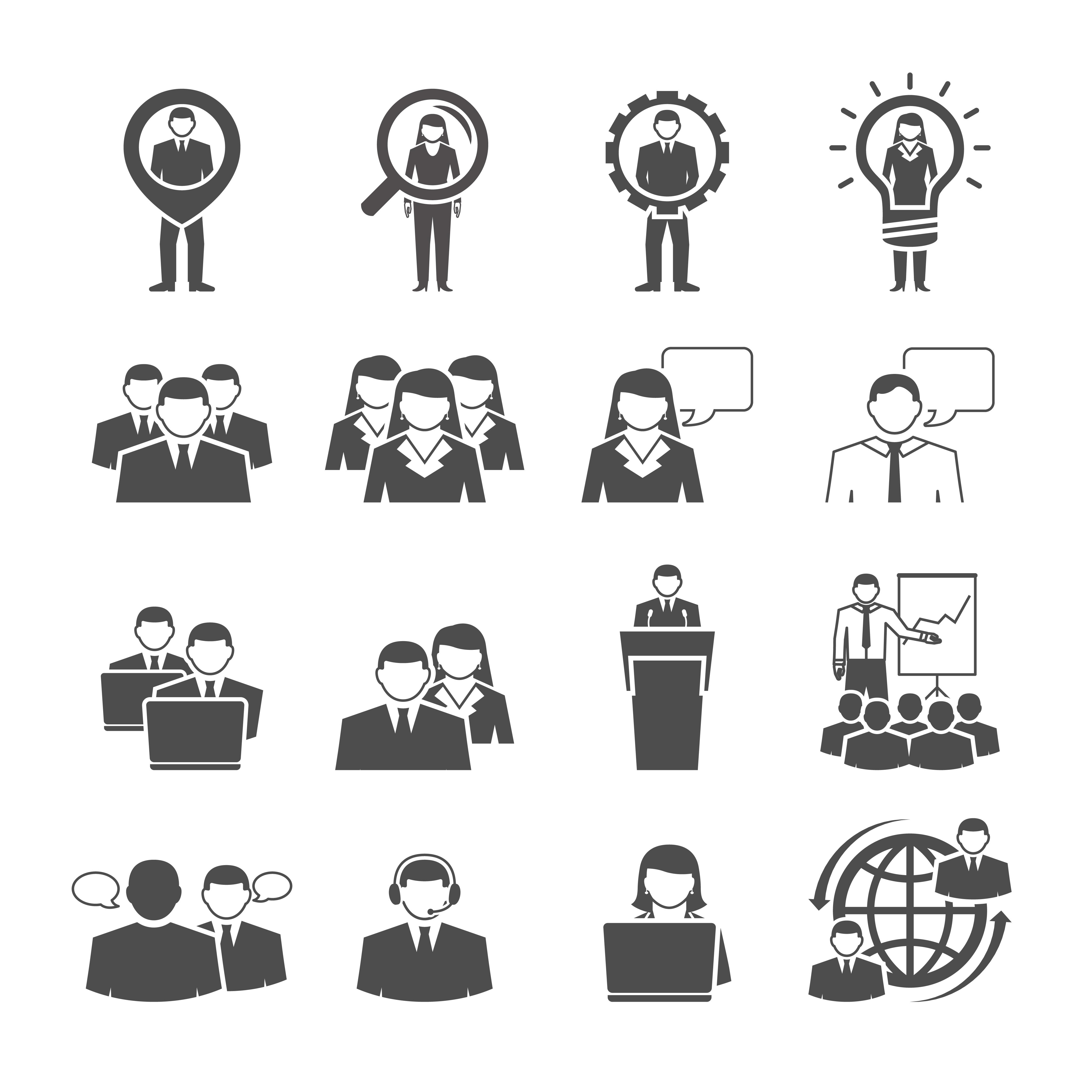 Business Team Demographic Composition Black Icons