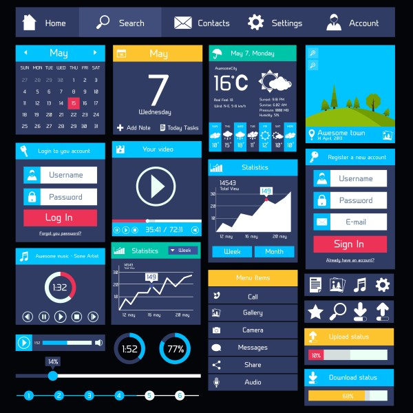 Flat user interface template - Download Free Vectors ...