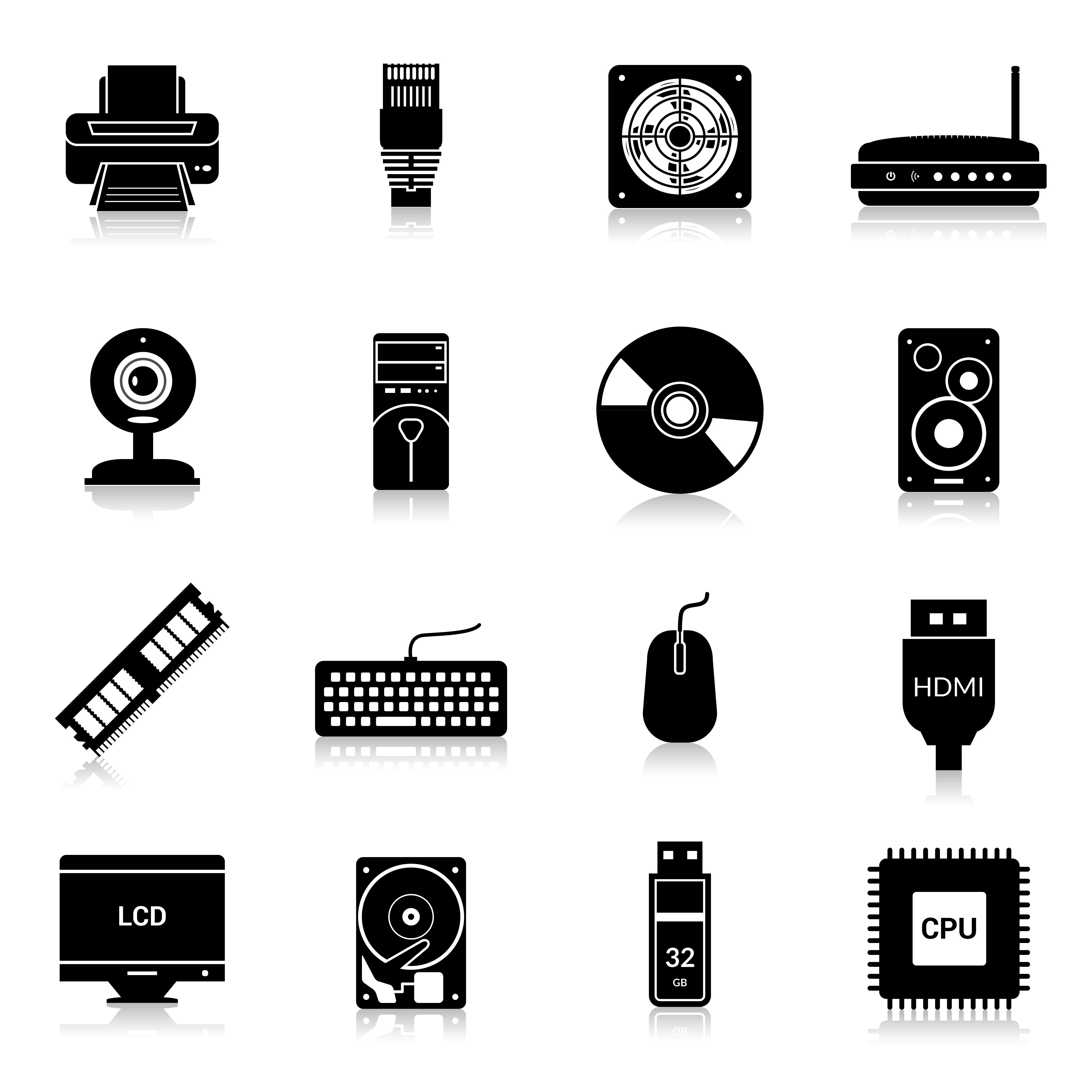 Computer Parts Icons Black