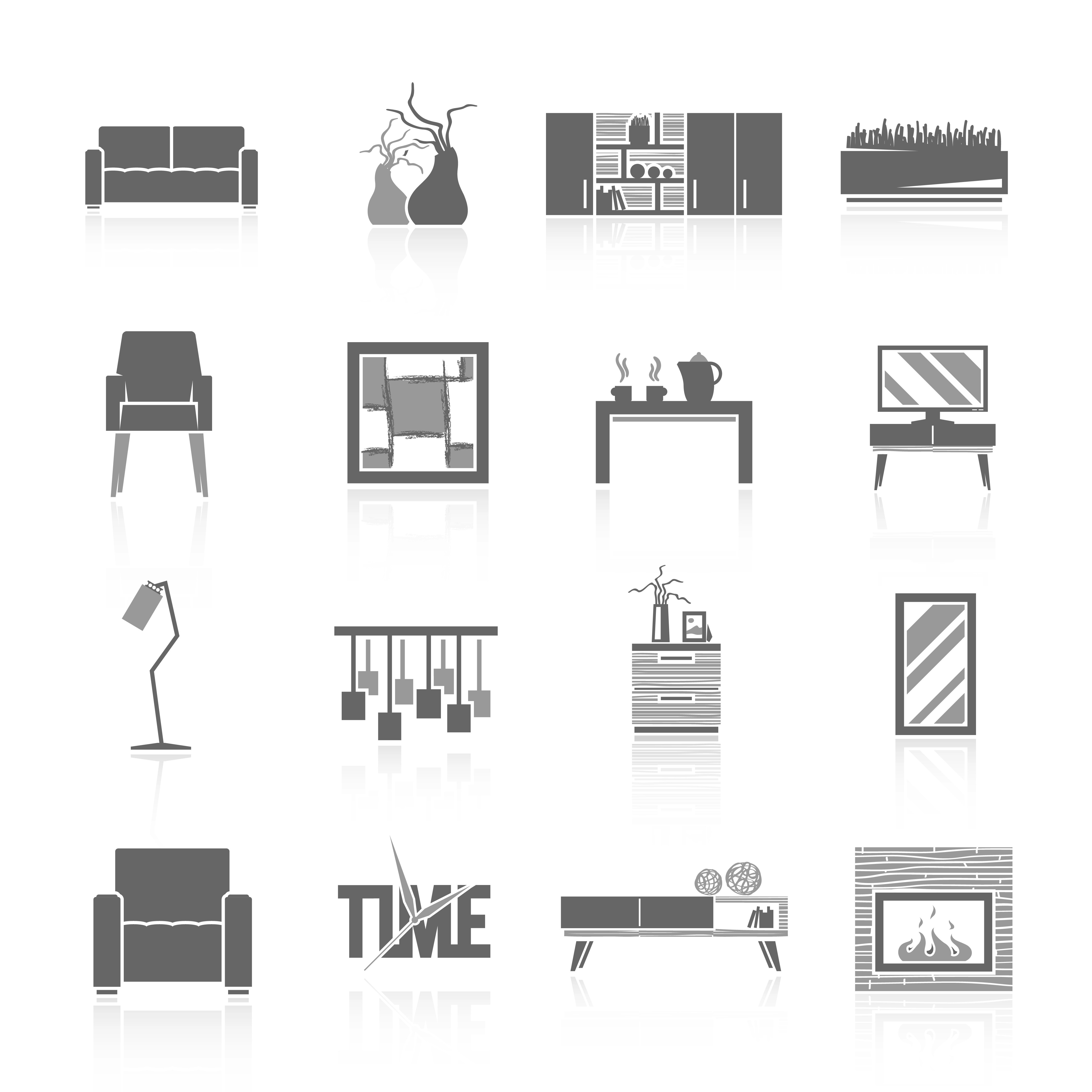 Living Room Icons Set Download Free Vector Art Stock
