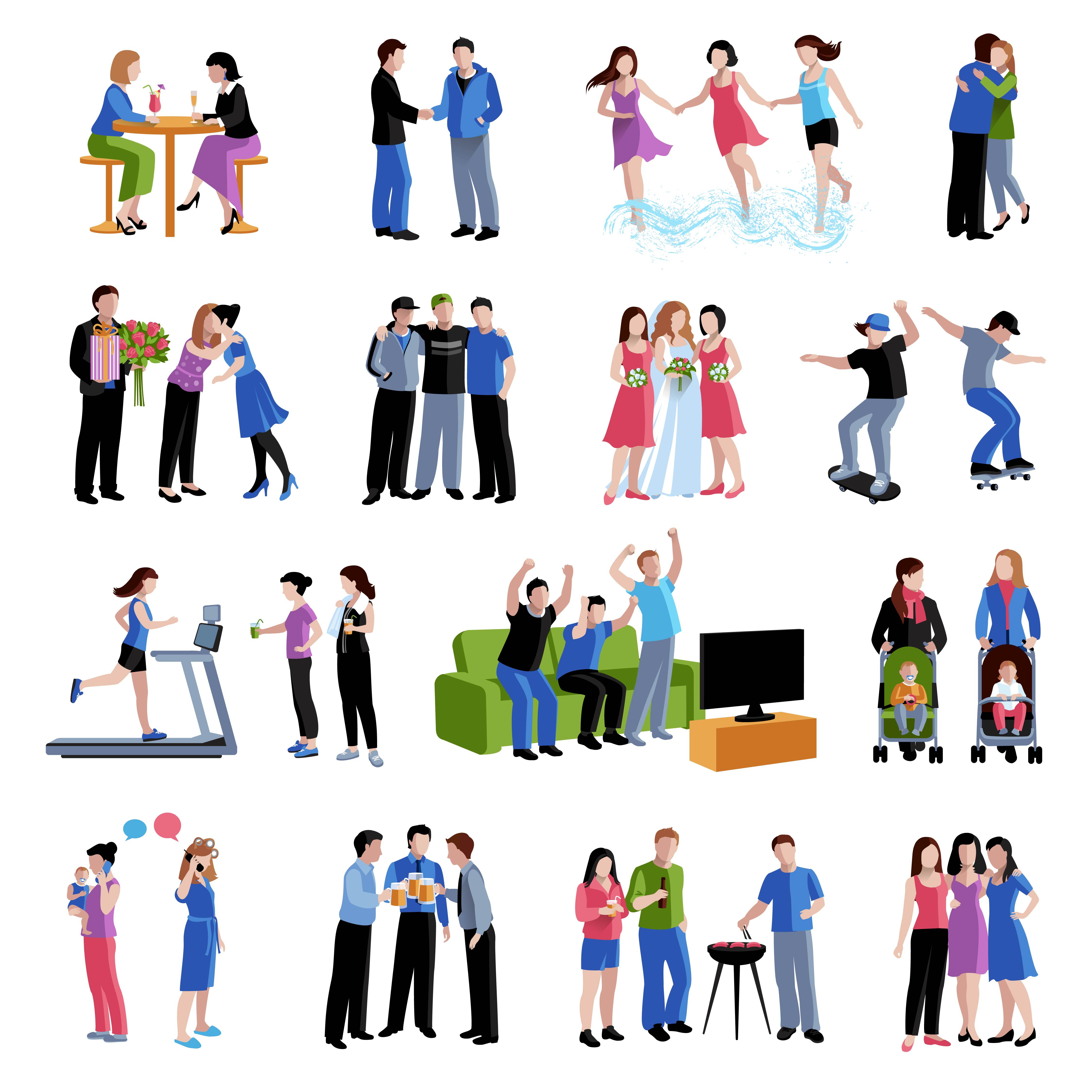 Friends Bud S Activities Flat Icons Set