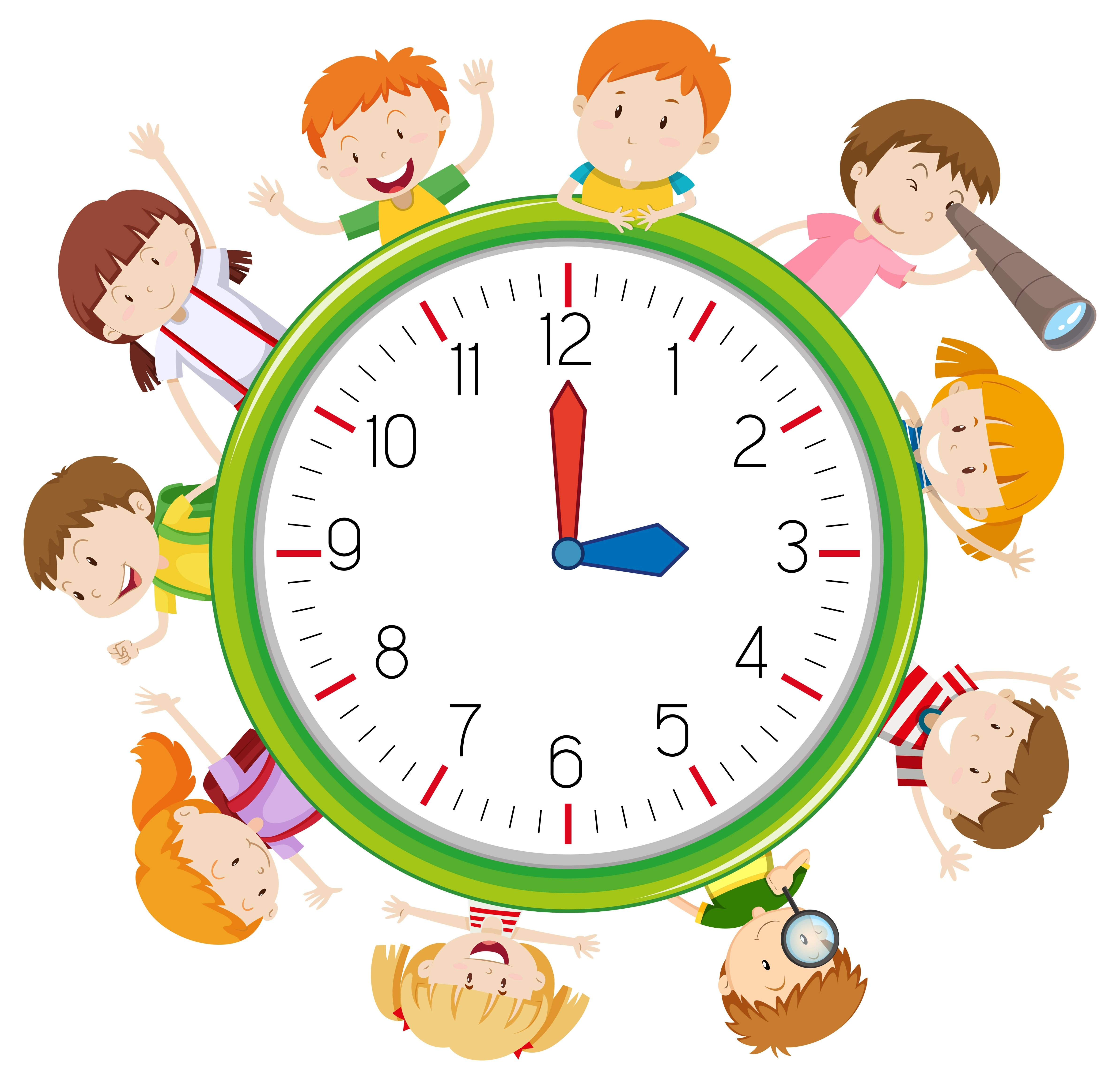 Children On Clock Template