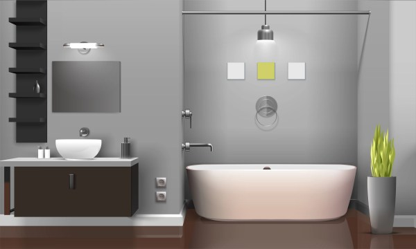Modern Realistic Bathroom Interior Design Download Free