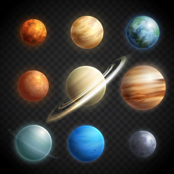 Planets Realistic Transparent Set - Download Free Vectors ...