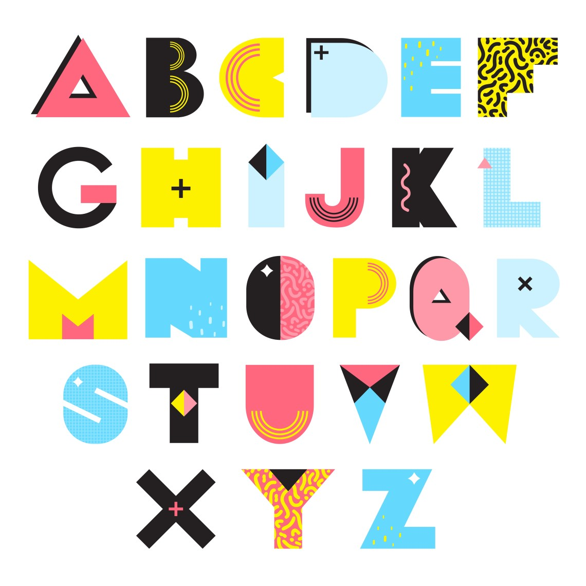 Download Alphabet Memphis Style Illustration - Download Free ...