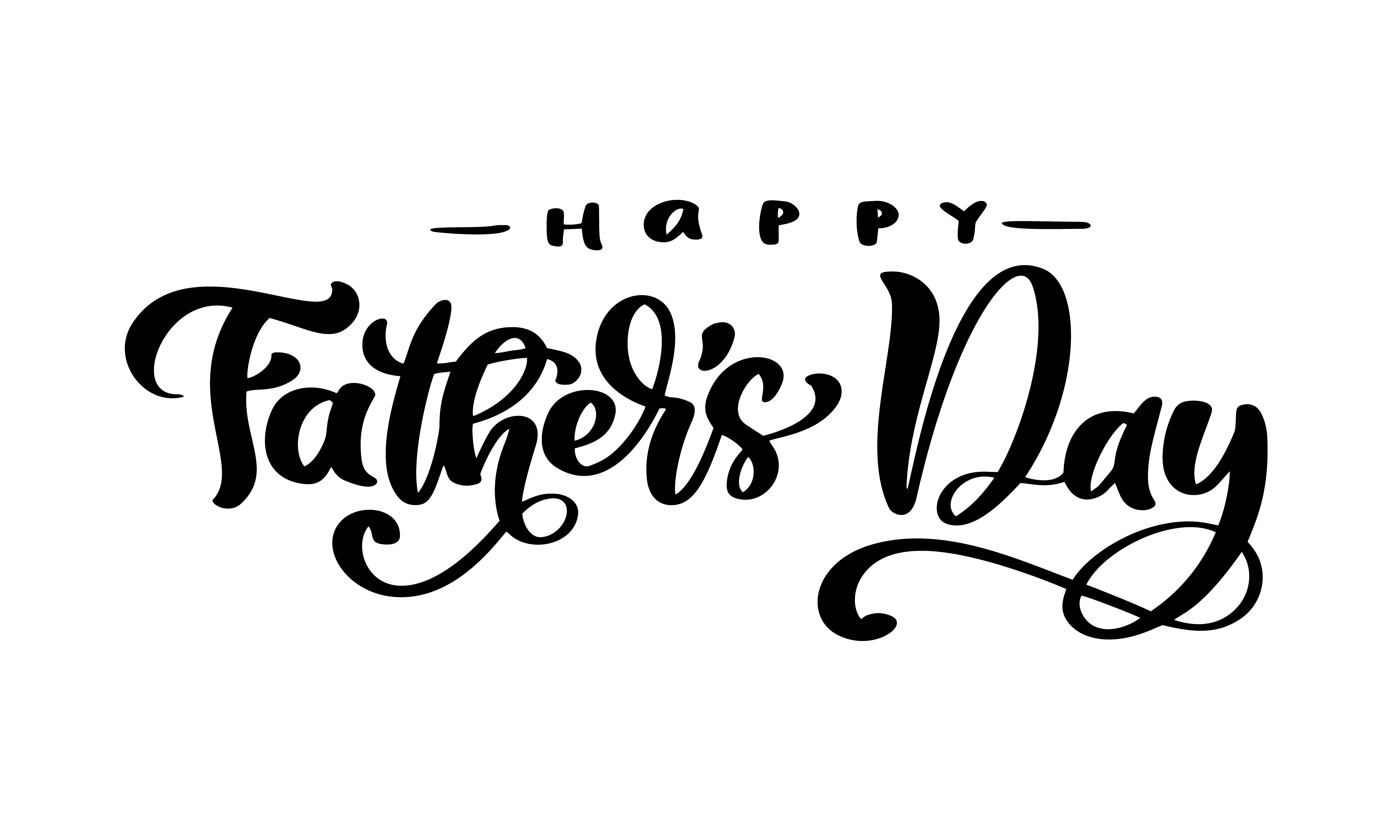 Happy Father S Day Lettering Black Vector Calligraphy Text