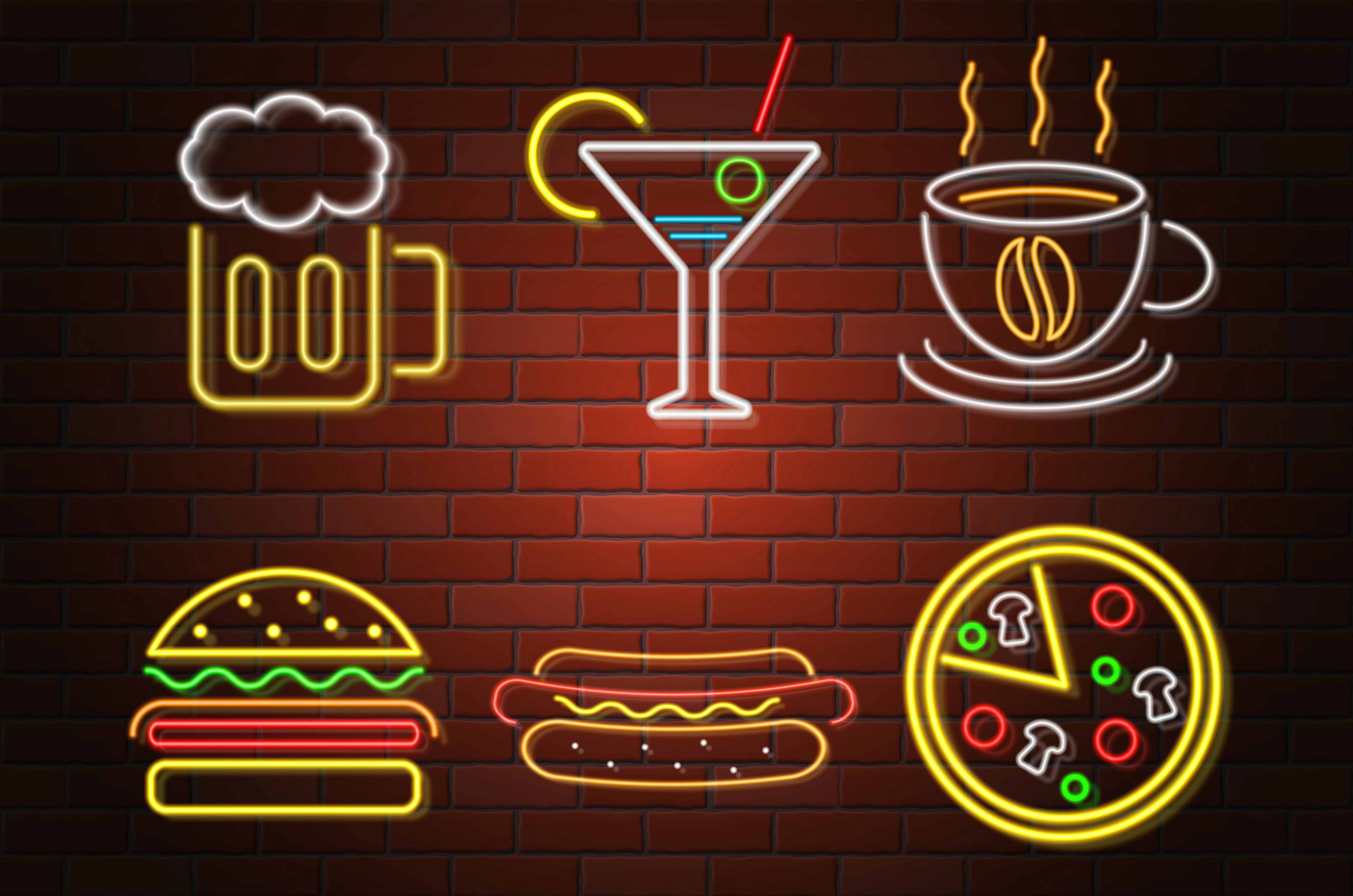 Glowing Neon Signboard Fast Food And Drink Vector