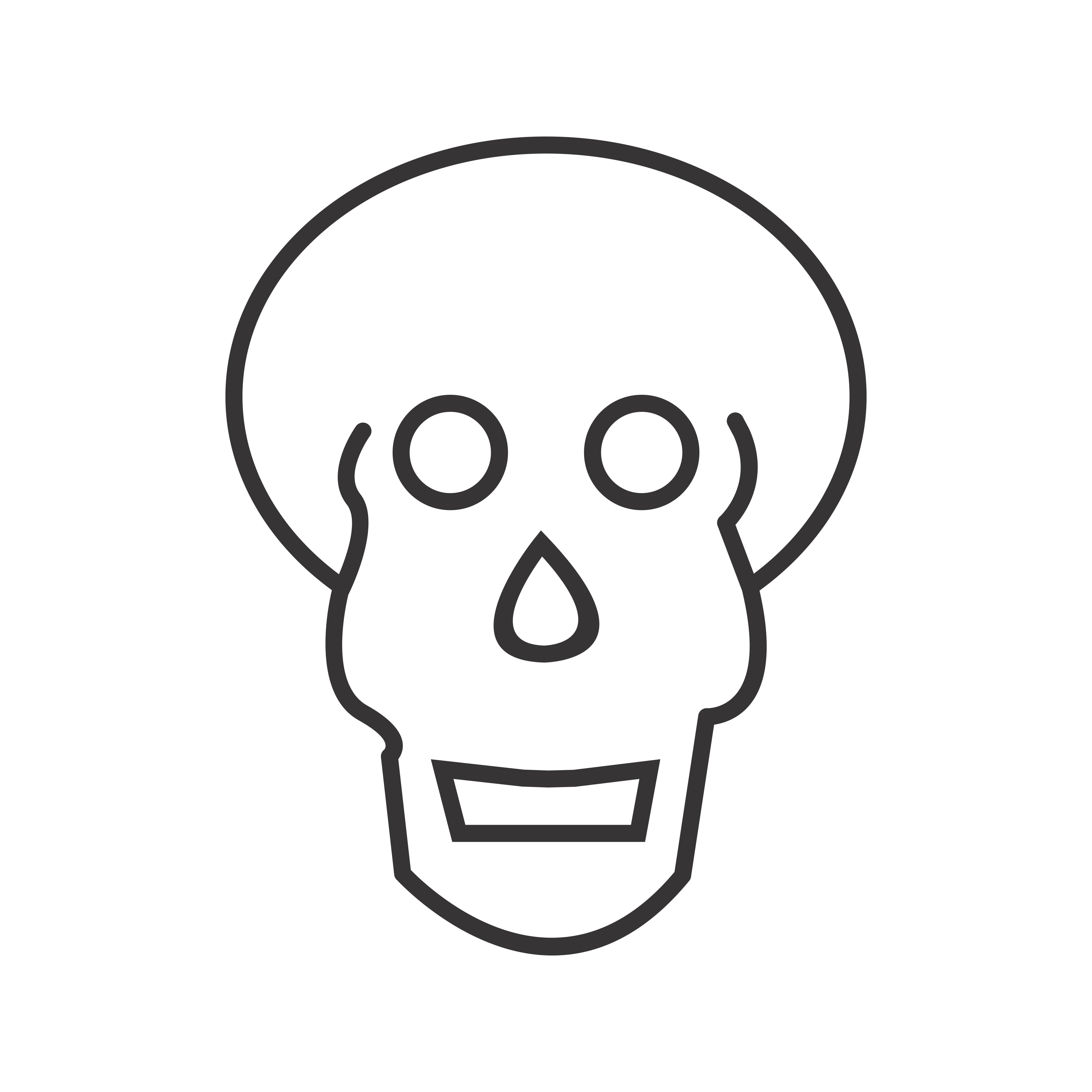 Skull X Ray Line Black Icon