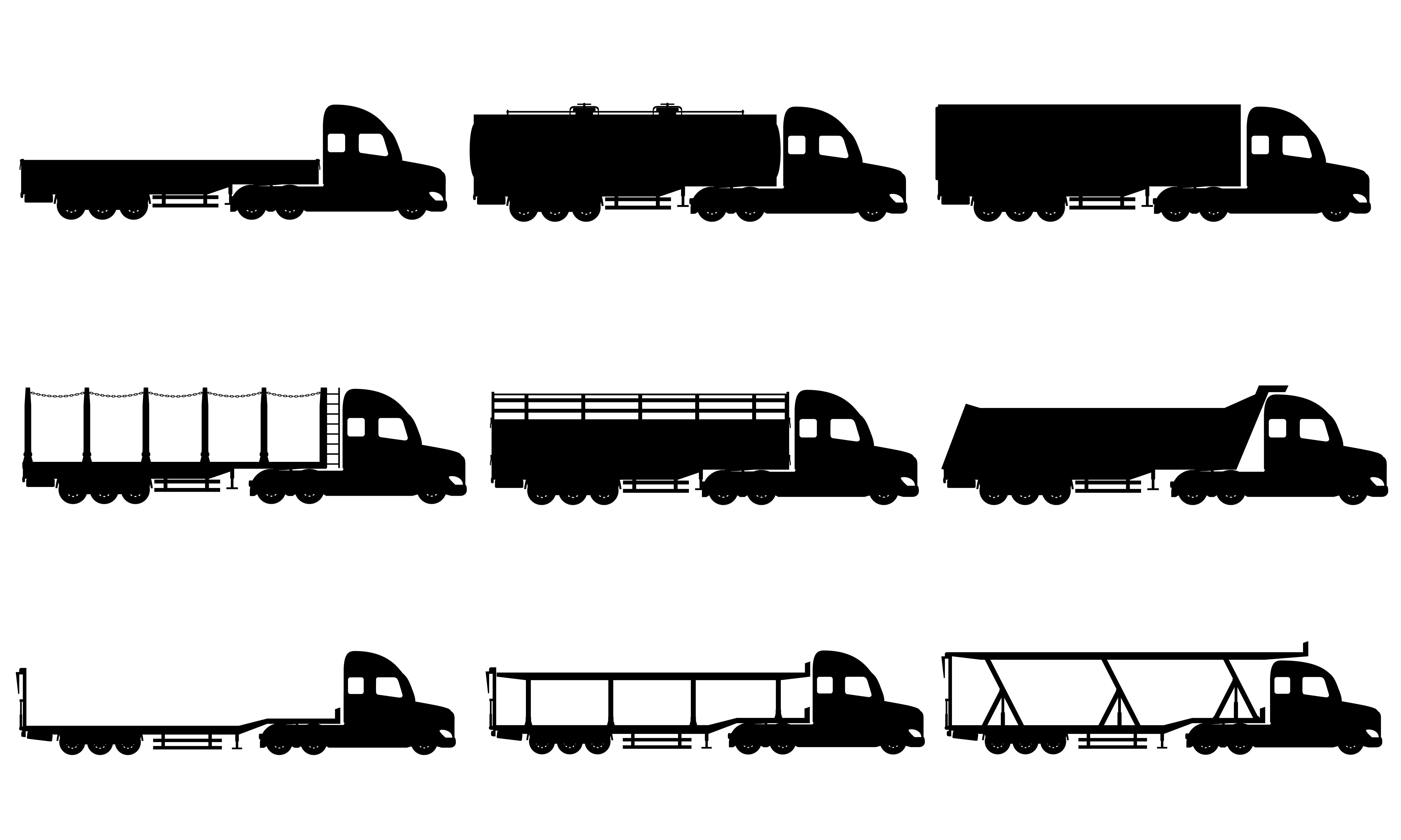 Set Icons Trucks Semi Trailer Black Silhouette Vector