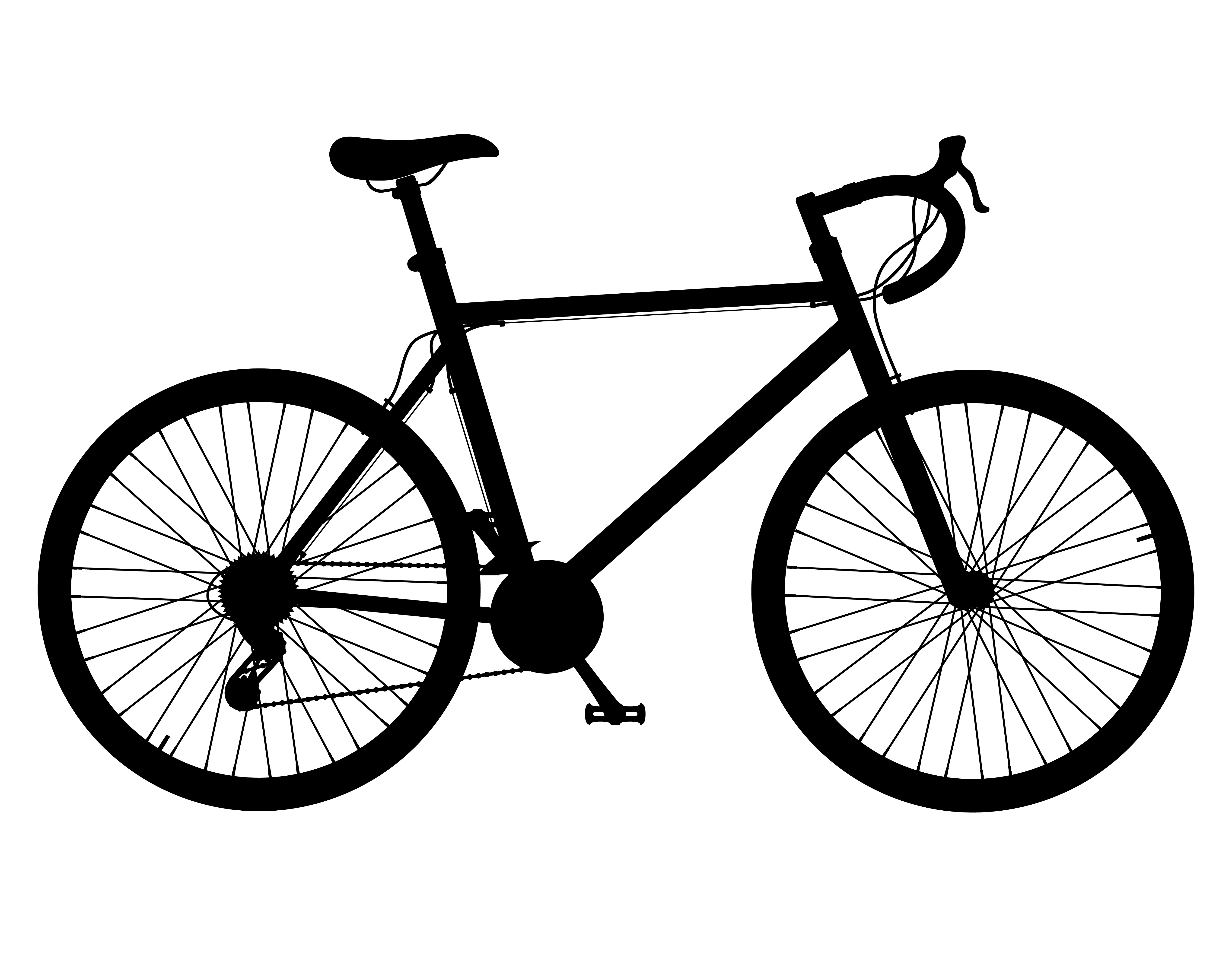 Road Bike With Gear Shifting Black Silhouette Vector
