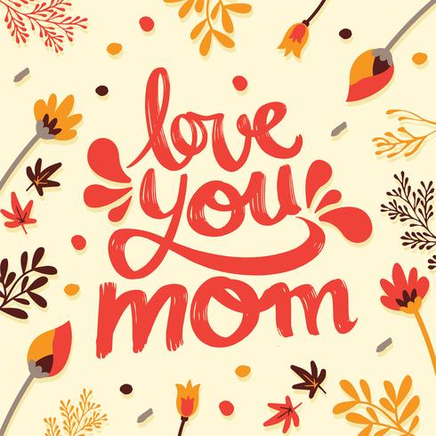 """Download """"Love You Mom"""" Typography Vector Design - Download Free ..."""