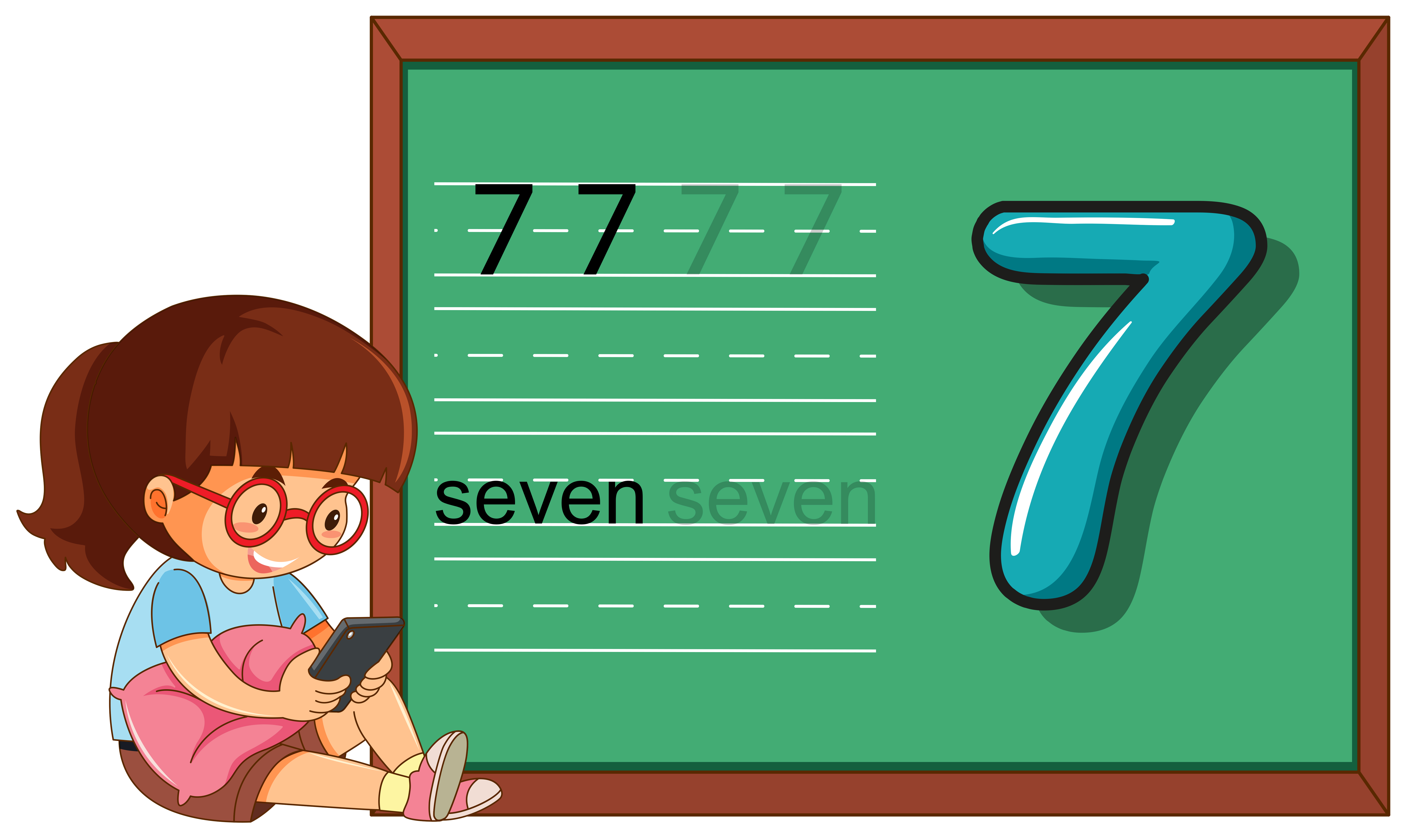 Number Seven Worksheet On Blackboard