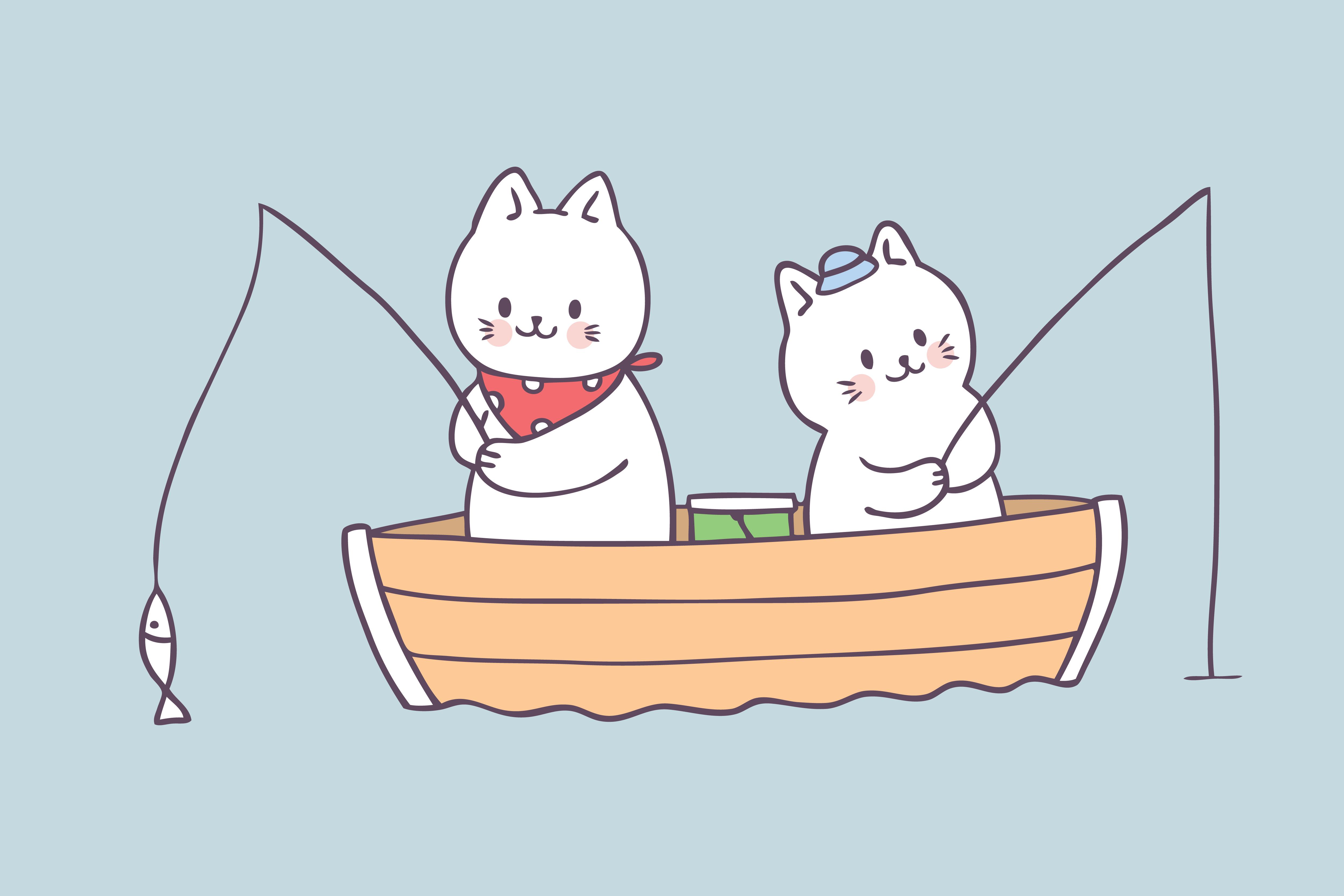 Cartoon Cute Summer Cat Fishing Vector.