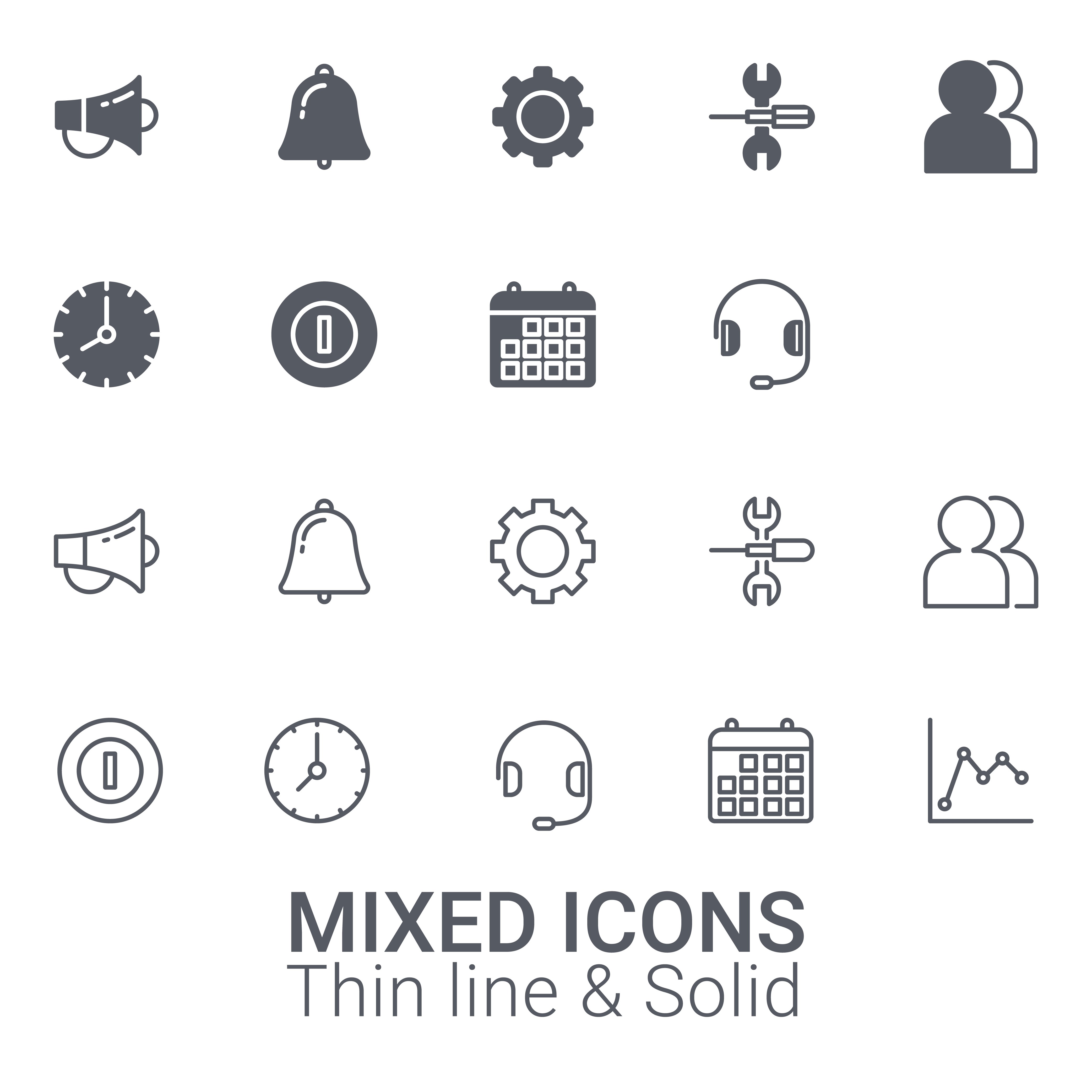 Set Of Mixed Icons Thin Line And Solid Icon