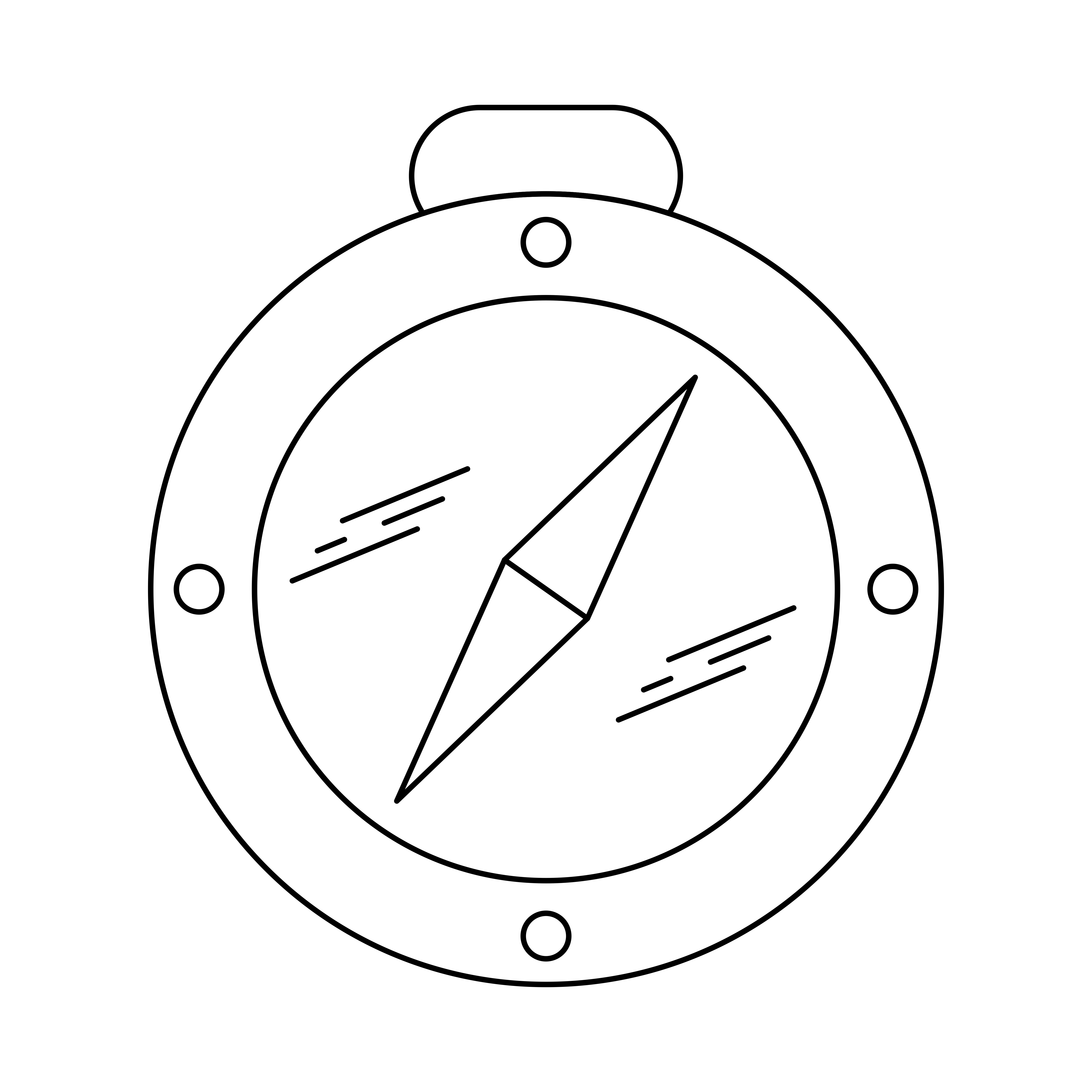 Compass Line Black Icon