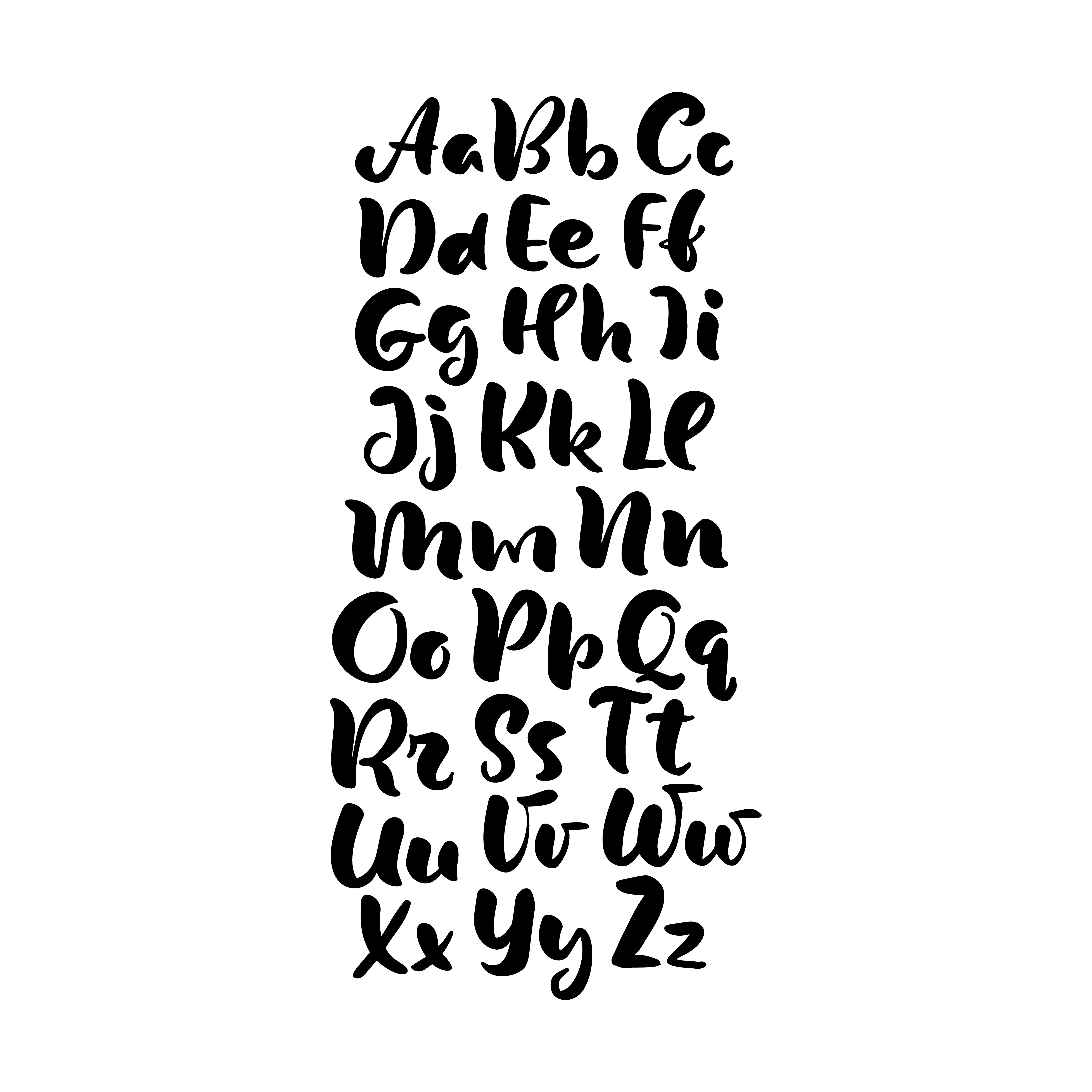 Hand Lettering Alphabet Design Handwritten Brush Script