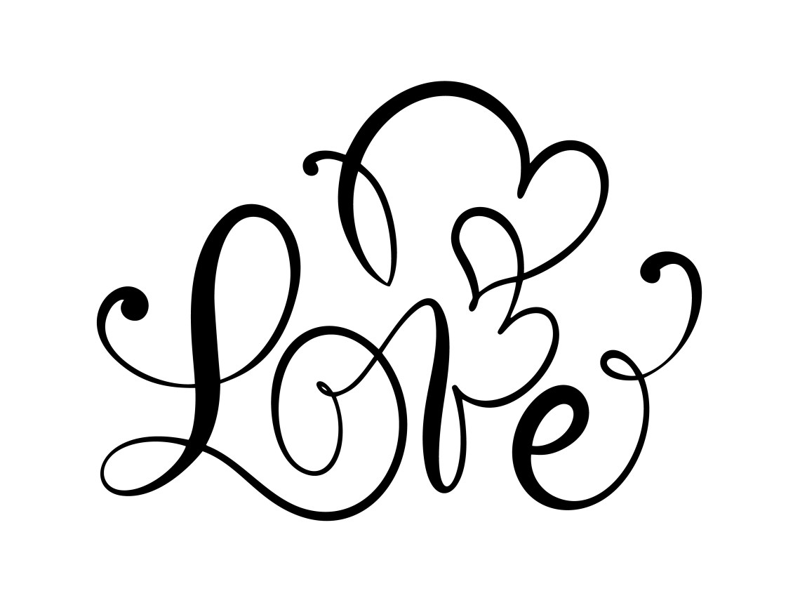 Download Love calligraphic vector text with romantic hearts ...