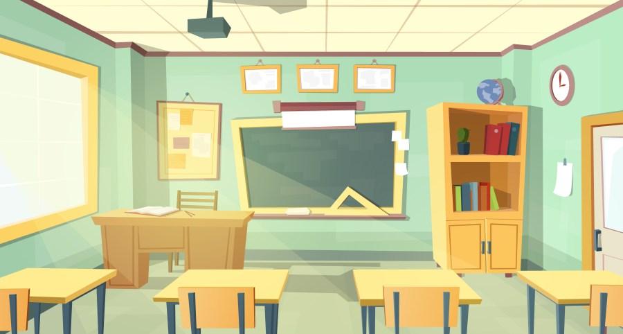 Vector cartoon illustration of school classroom - Download ...