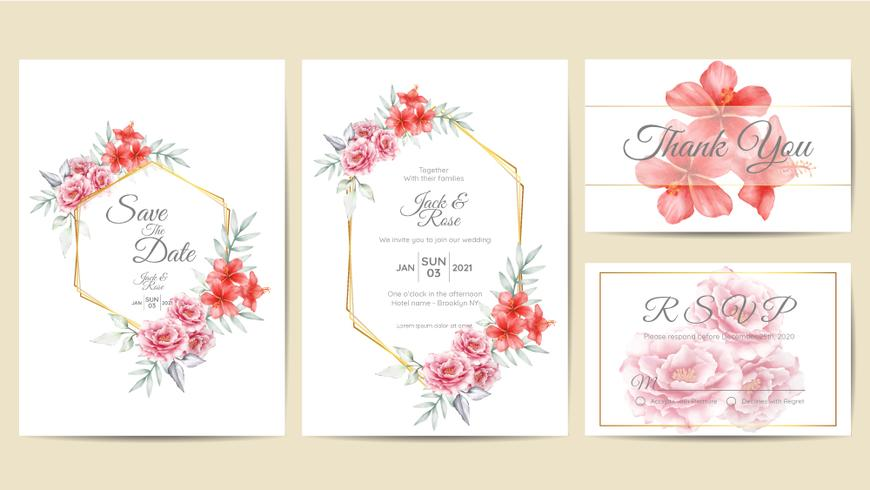 https www vecteezy com vector art 584305 watercolor floral wedding invitation template golden frame hand drawing roses and hibiscus flower with branches save the date greeting thank you and rsvp cards multipurpose
