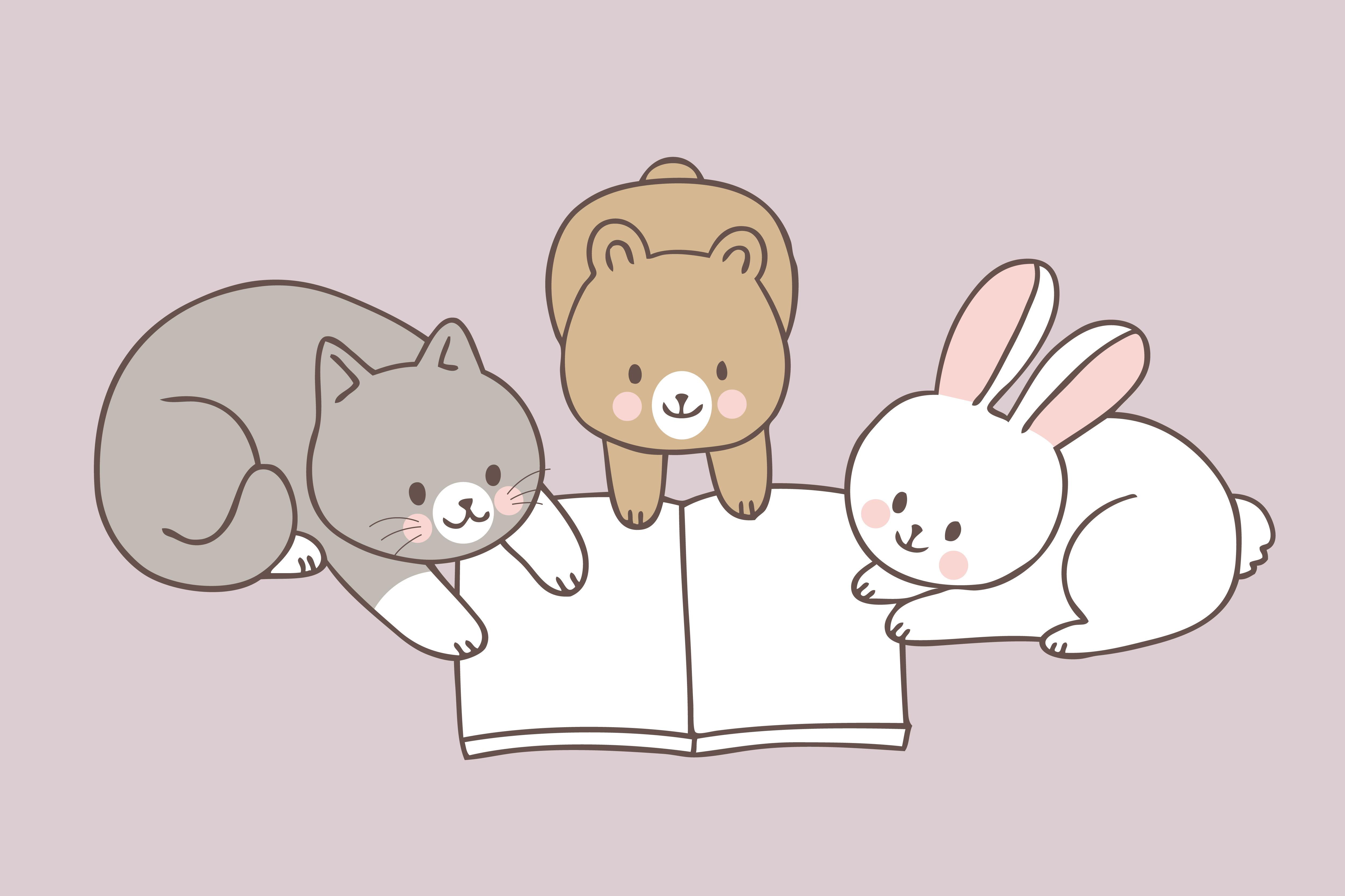 Cartoon Cute Animals Reading Book Vector