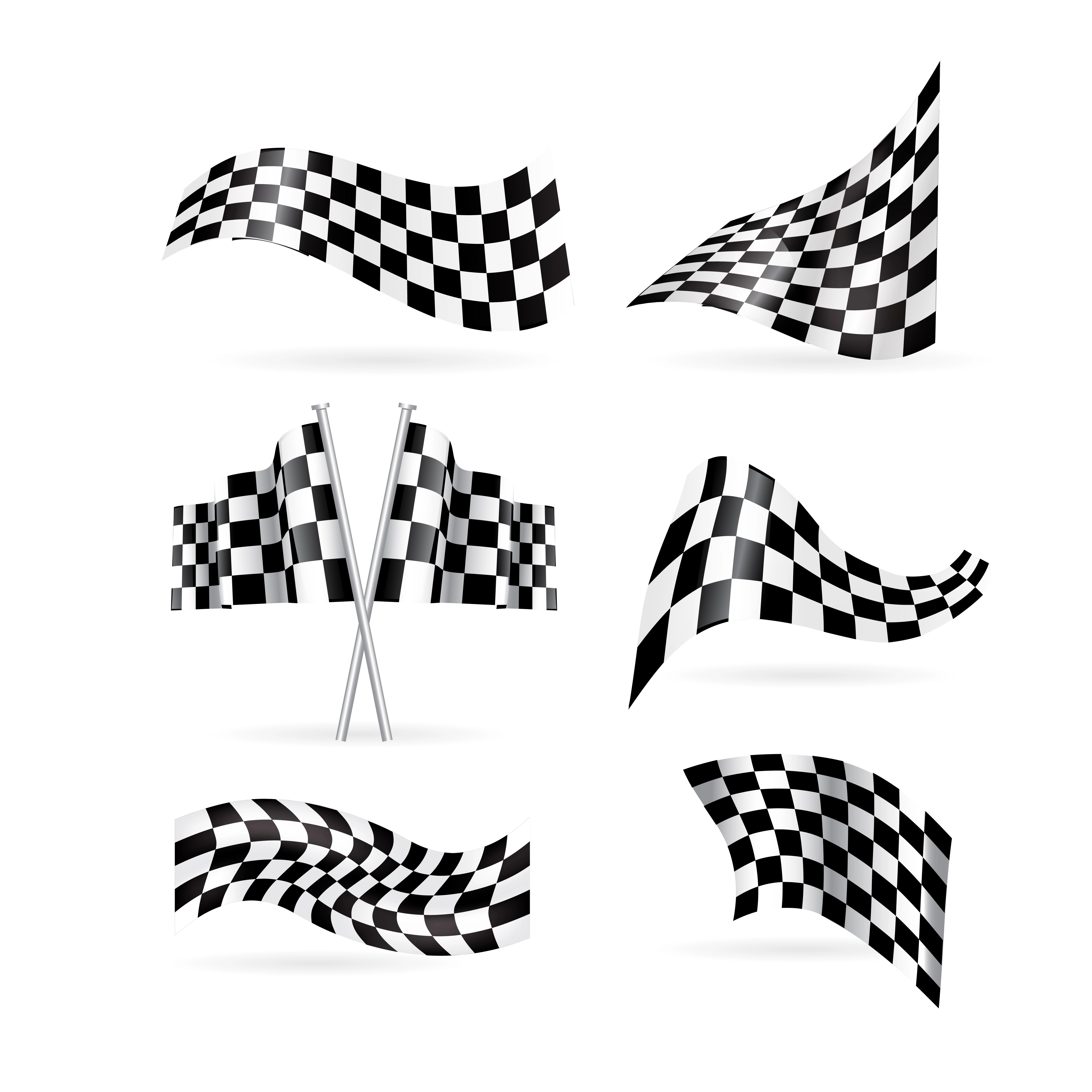 Checkered Flags Set Vector Illustration