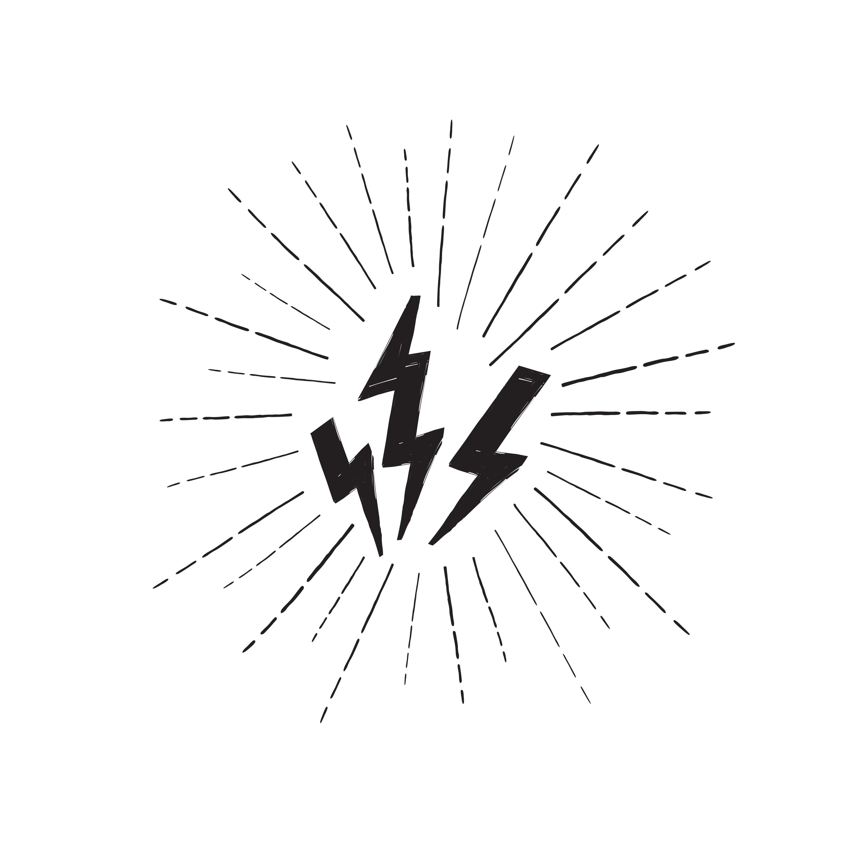 Lightning Bolt Set Grunge Strike Icon Power Sign