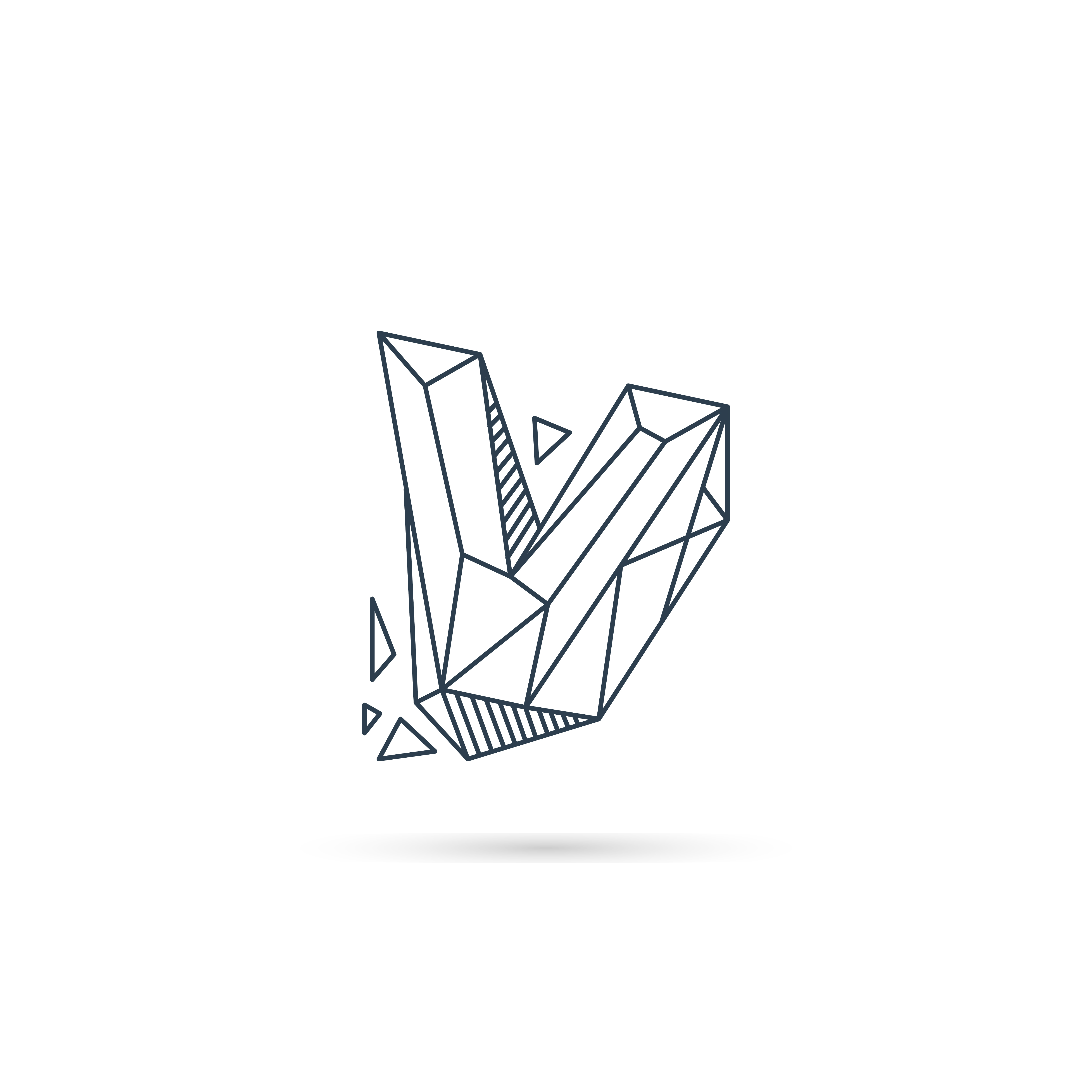 Gemstone Letter V Logo Design Icon Template Vector Element