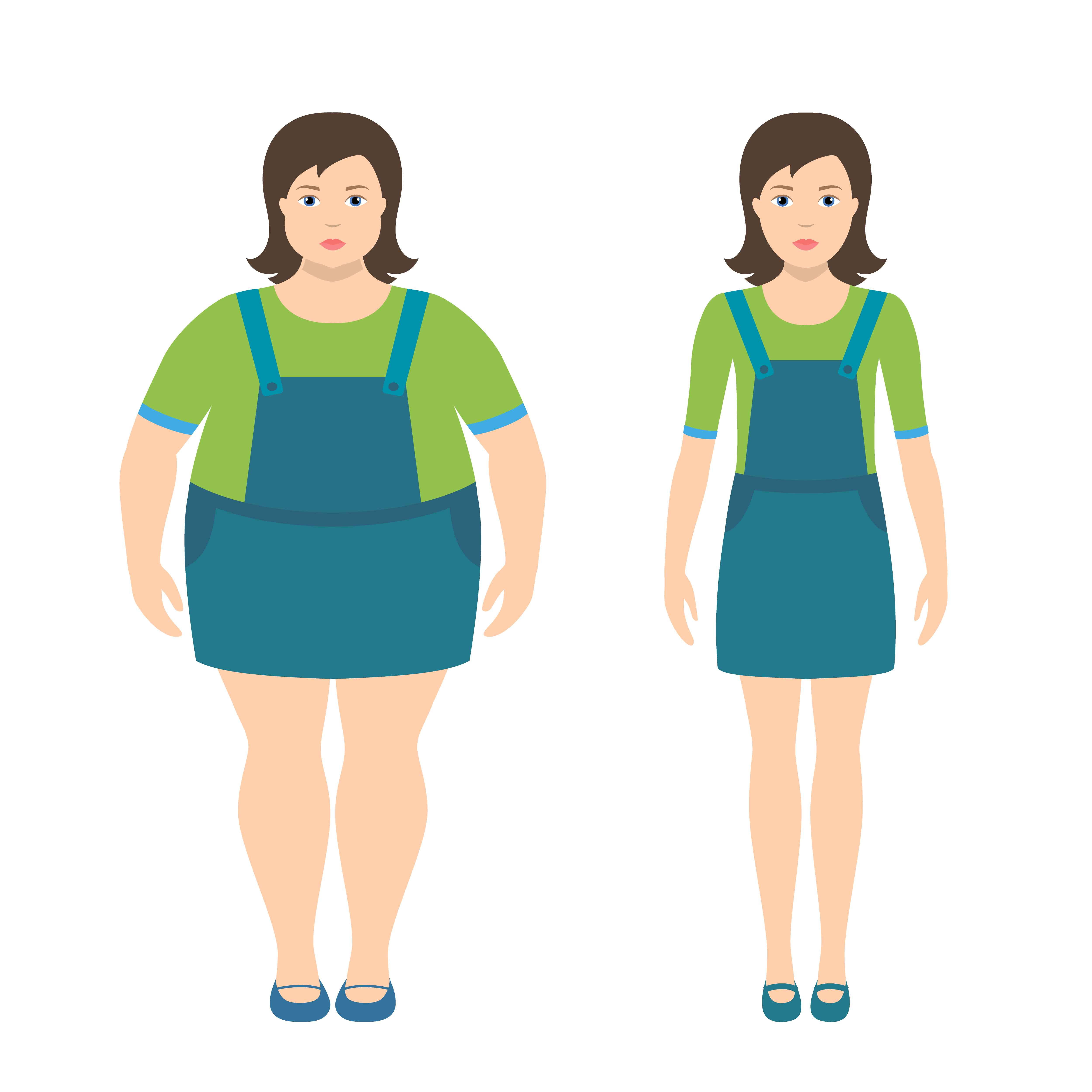 Fat And Slim Girls Vector Illustration In Flat Style