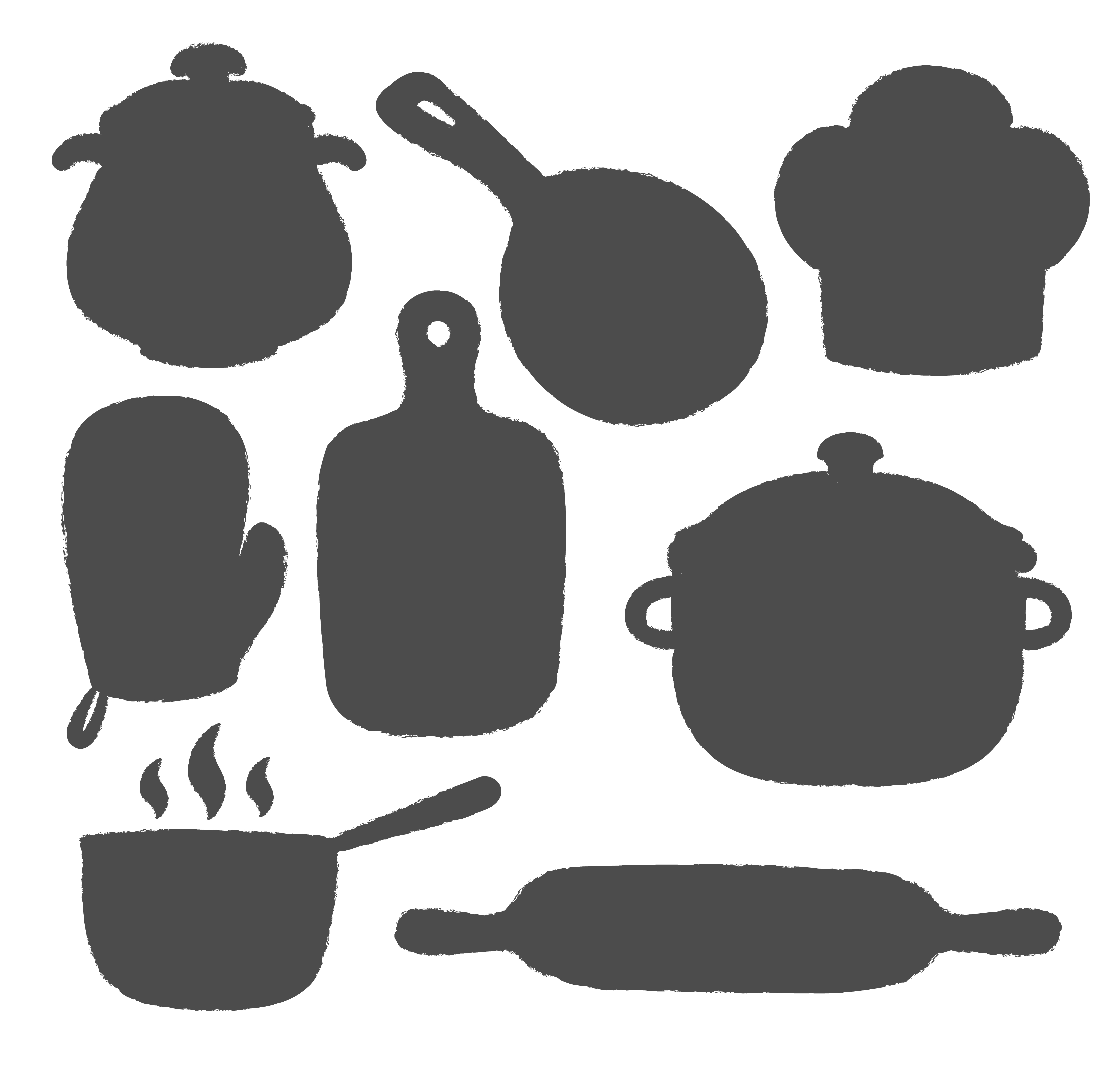 Collection Of Cooking Label Or Logo Silhouettes Of