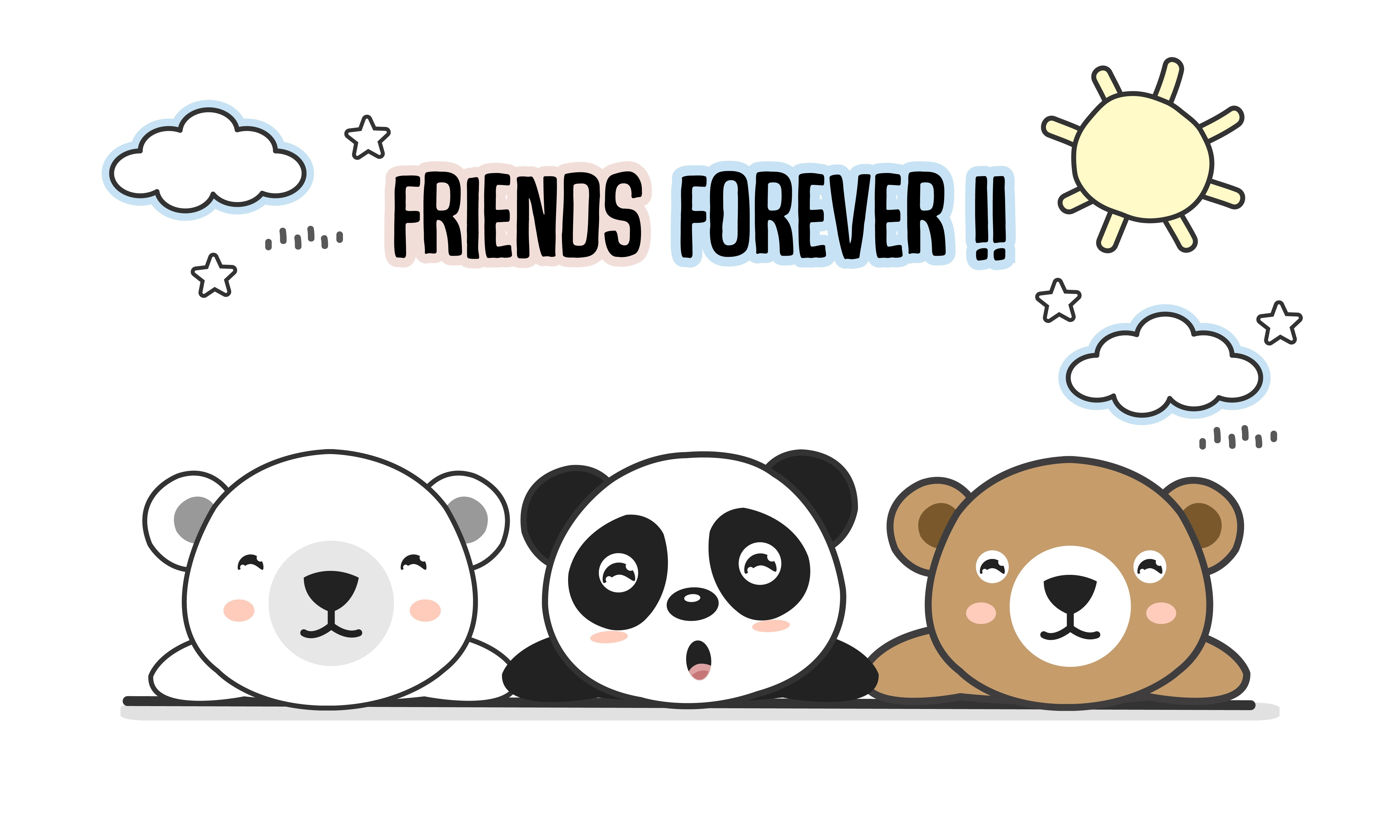 Friends Forever Greeting Card With Little Animals Cute