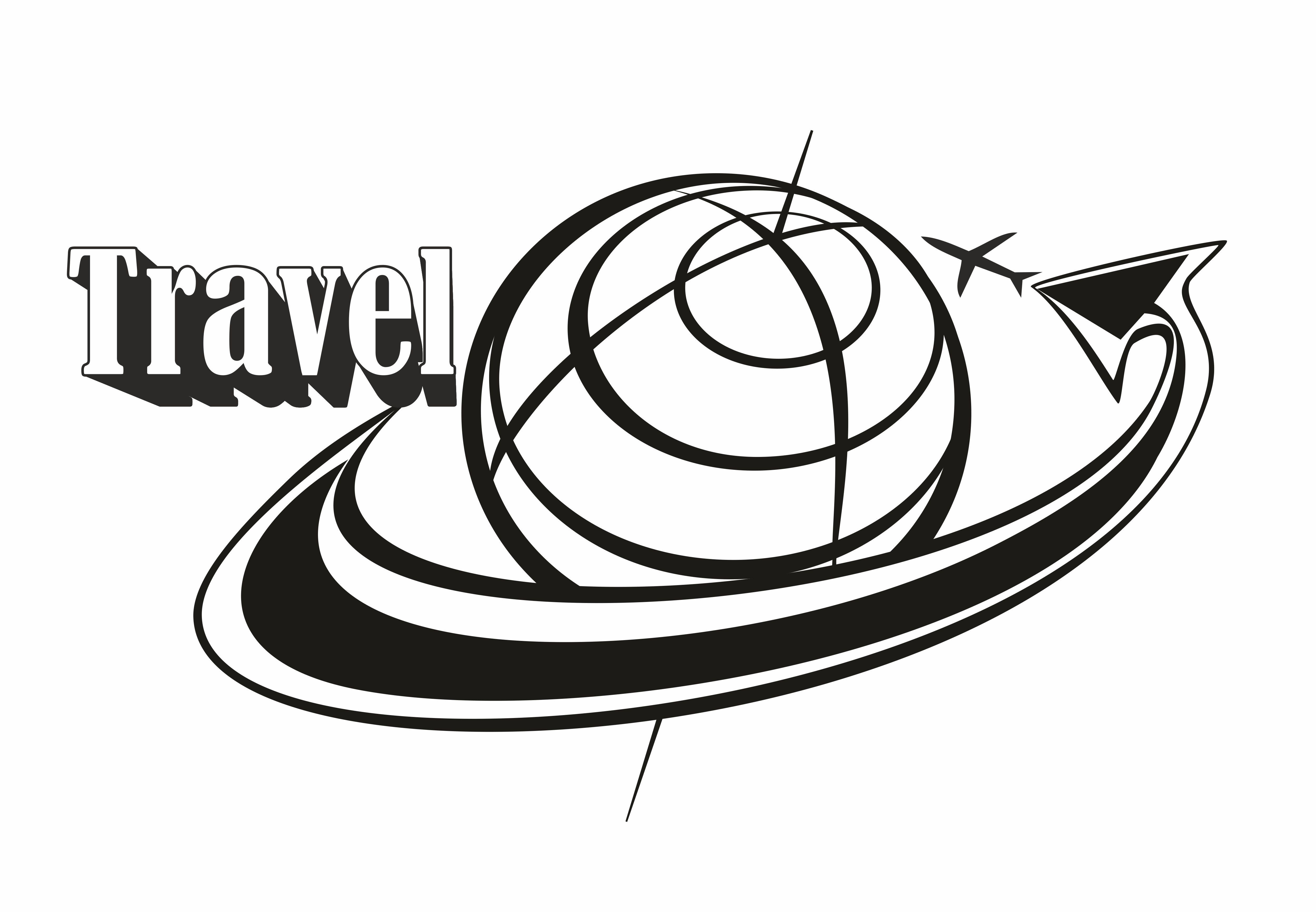 Travel Inscription Logo Flying Around The Globe