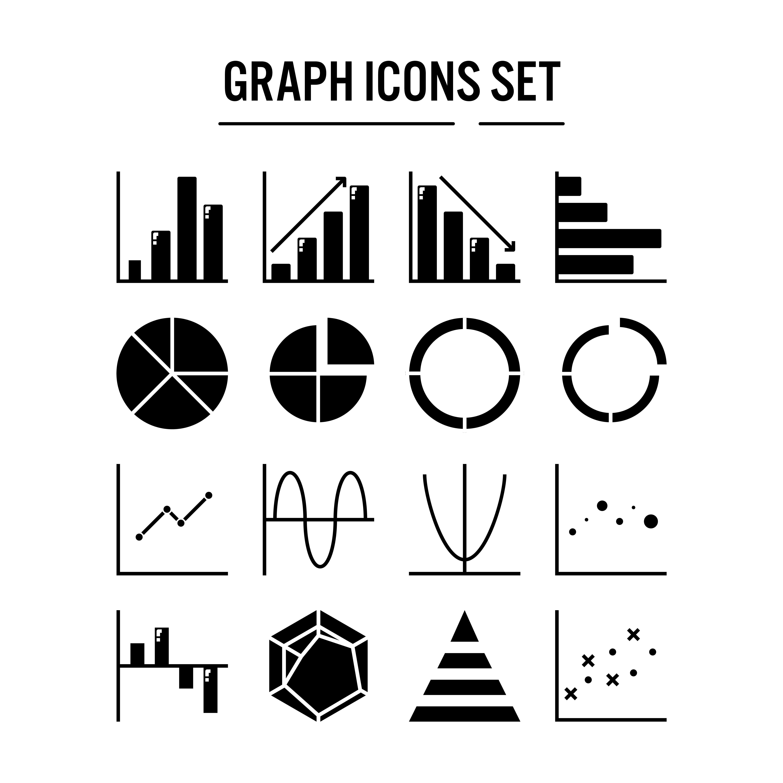 Graph And Diagram Icon In Glyph Design
