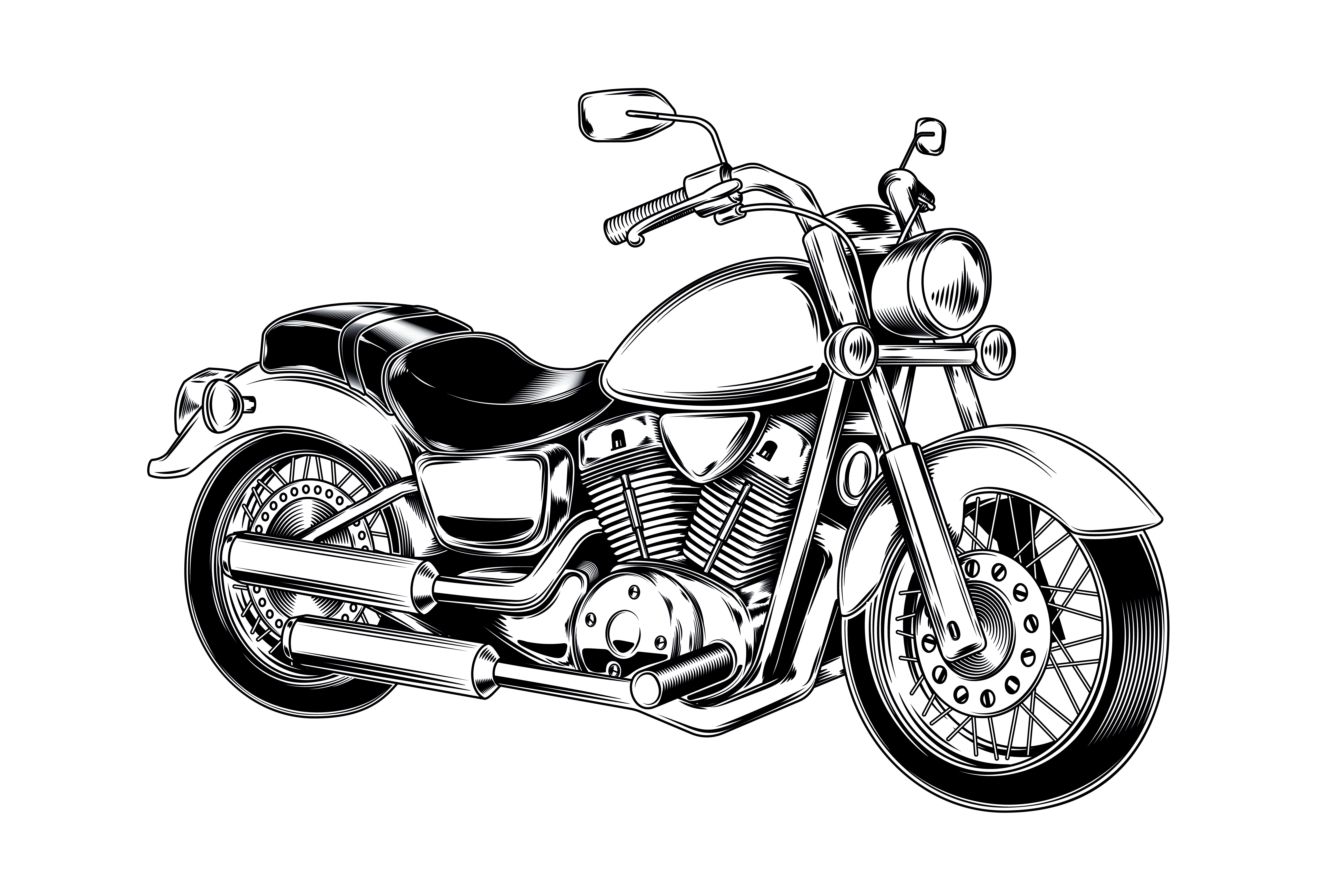 Hand Drawn Vintage Motorcycle Classic Chopper