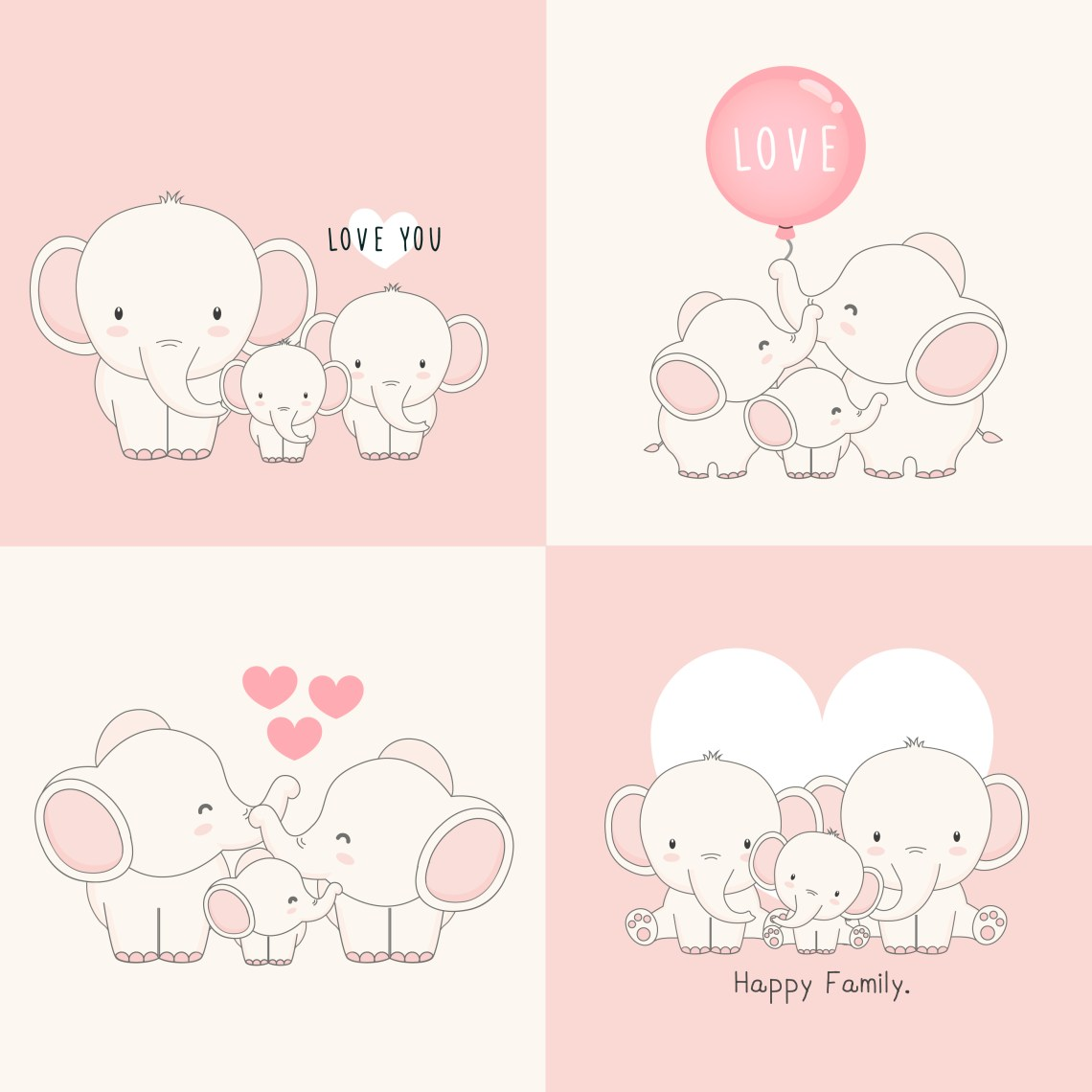 Download Cute elephant family with a little elephant in the middle ...