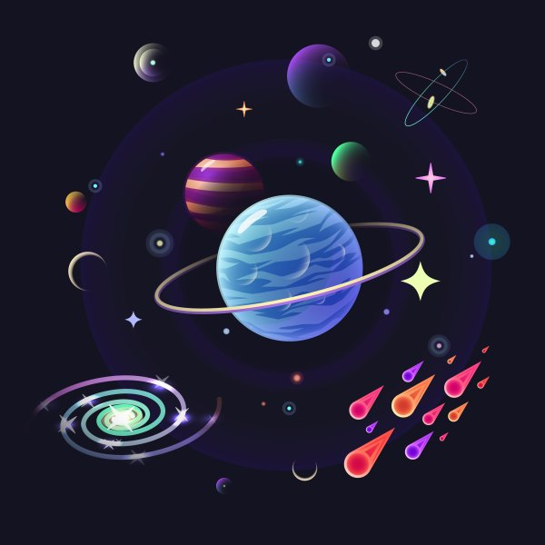 Space vector background with glossy planets, stars, comets ...