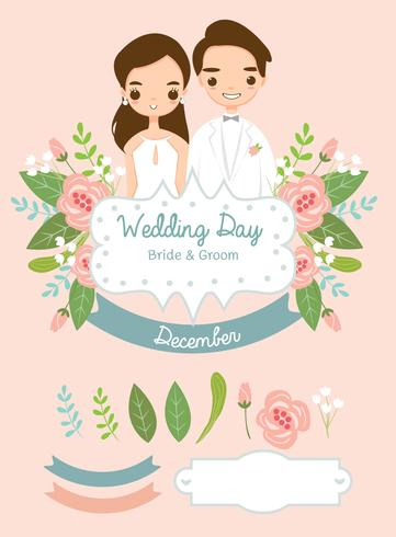 Cute Bride And Groom Elements For Wedding Invitations