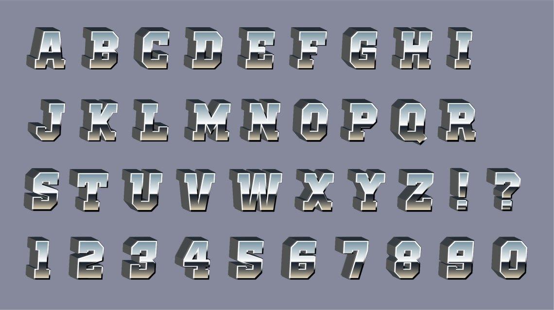 Download Vector Chrome 3d Font - Download Free Vectors, Clipart ...