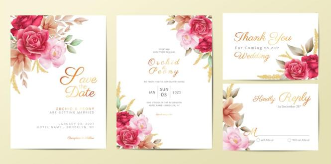 Flowers Wedding Invitation Cards Template Set