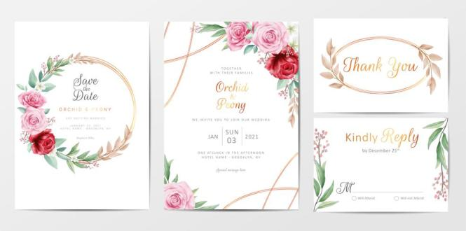 Golden Flowers Wedding Invitation Cards