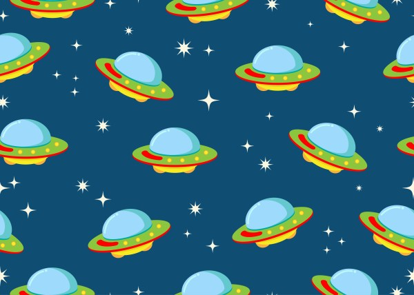 Seamless pattern of ufo with star in space galaxy ...