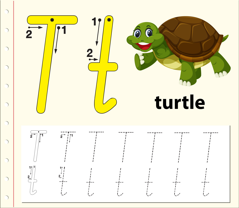 Hojas De Trabajo Del Alfabeto De Trazado De La Letra T