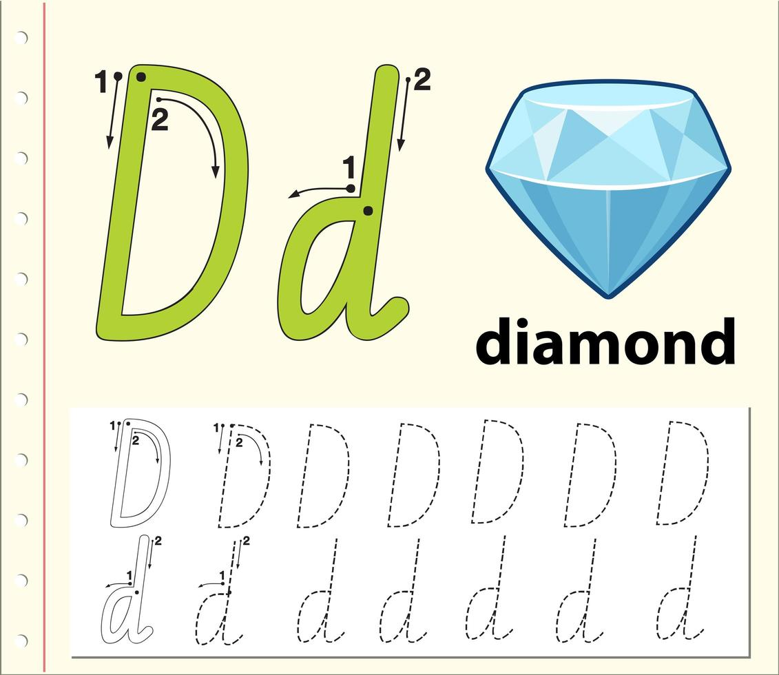 Letter D Tracing Alphabet Worksheets