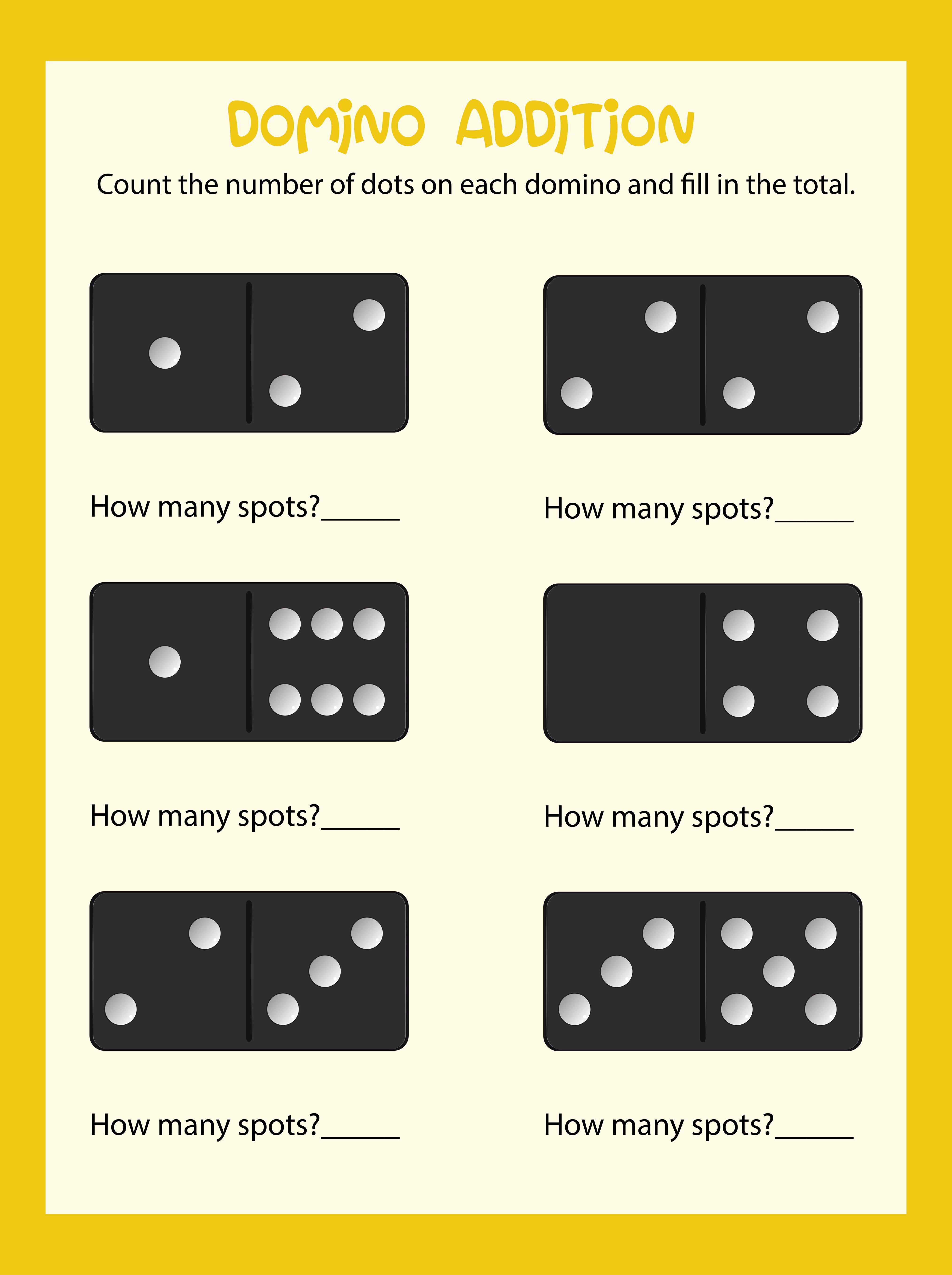 Domino Counting Math Worksheet