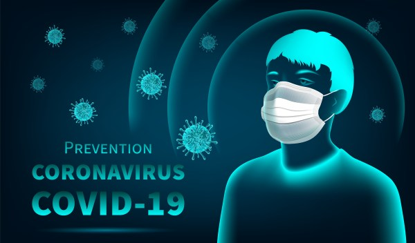 Coronavirus protection concept with man wearing mask ...