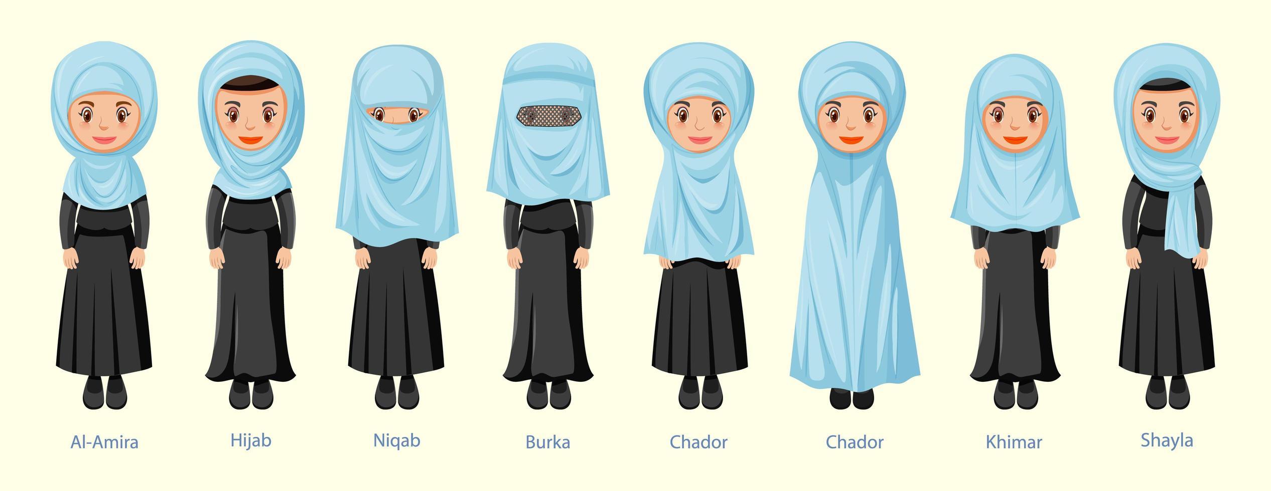 Scarica subito l'illustrazione vettoriale fumetto ragazza con niqab. Types Of Islamic Traditional Women S Veils 1337963 Vector Art At Vecteezy