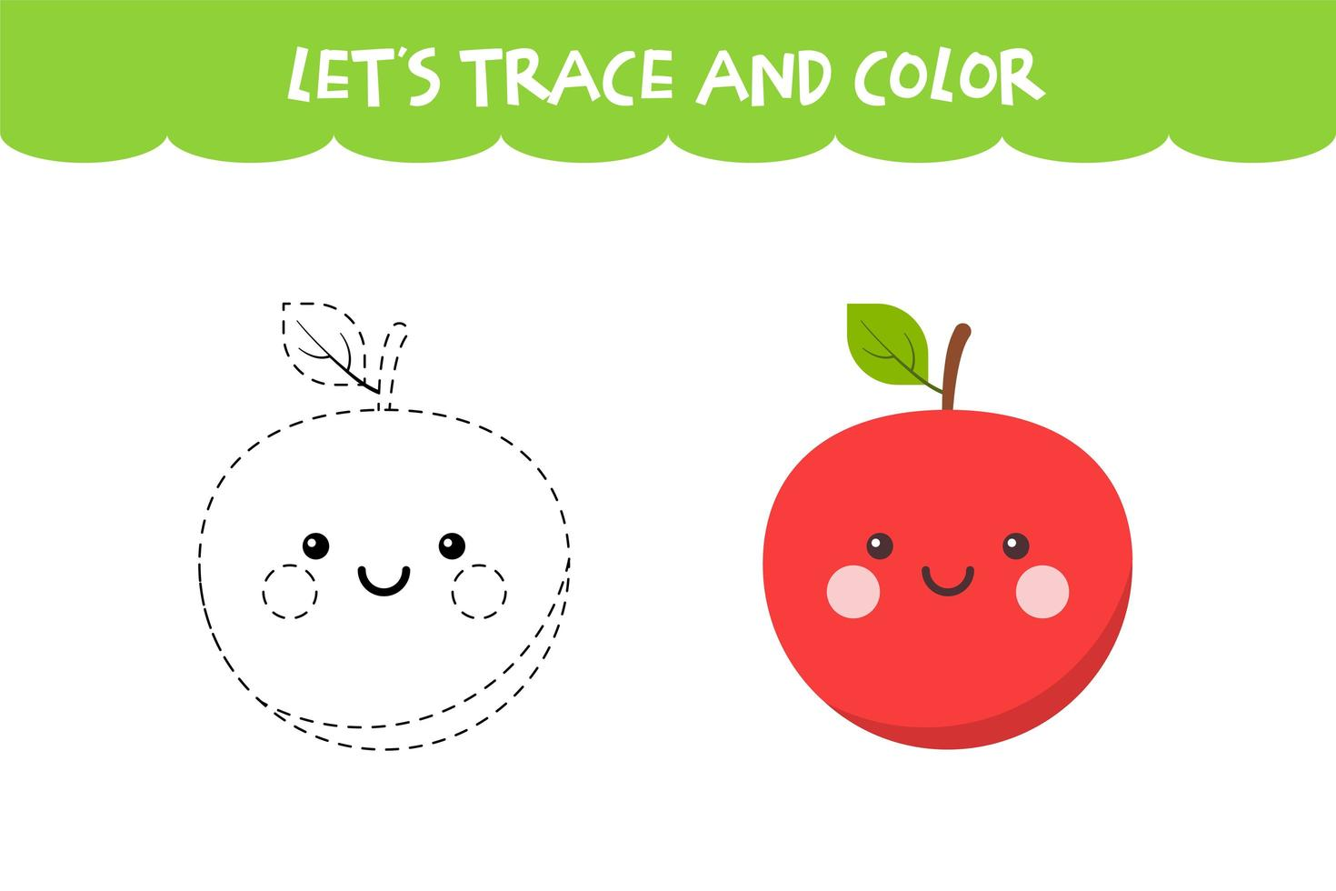 Trace And Color Cute Apple Educational Worksheet