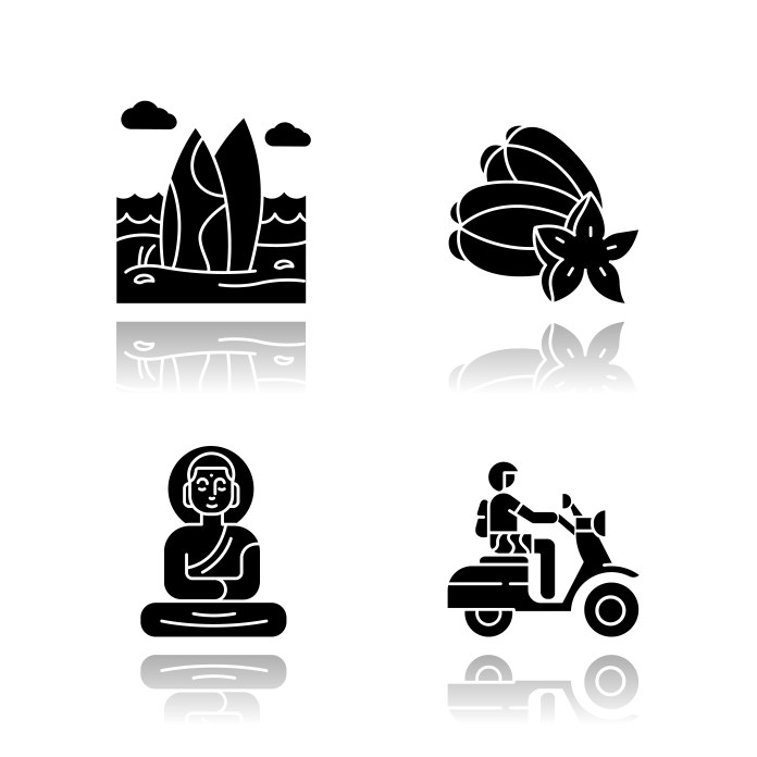 Indonesia Drop Shadow Black Glyph Icons Set Tropical Country Seaside Vacation In Indonesia Exotic Traditions Culture Unique Fruits Bali Sightseeing And Culture Isolated Vector Illustrations Download Free Vectors Clipart Graphics